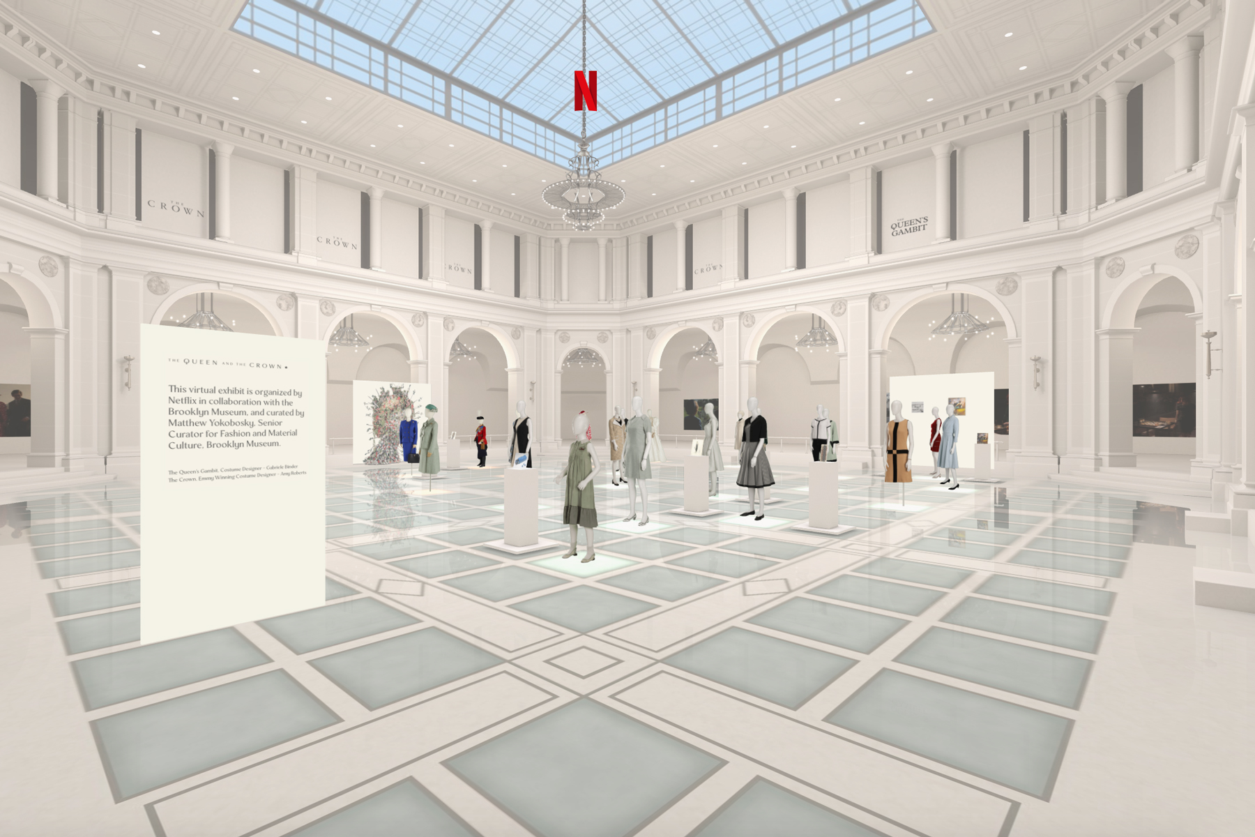 Screenshot of virtual exhibit by Netflix and Brooklyn Museum of The Crown and Queen's Gambit fashion