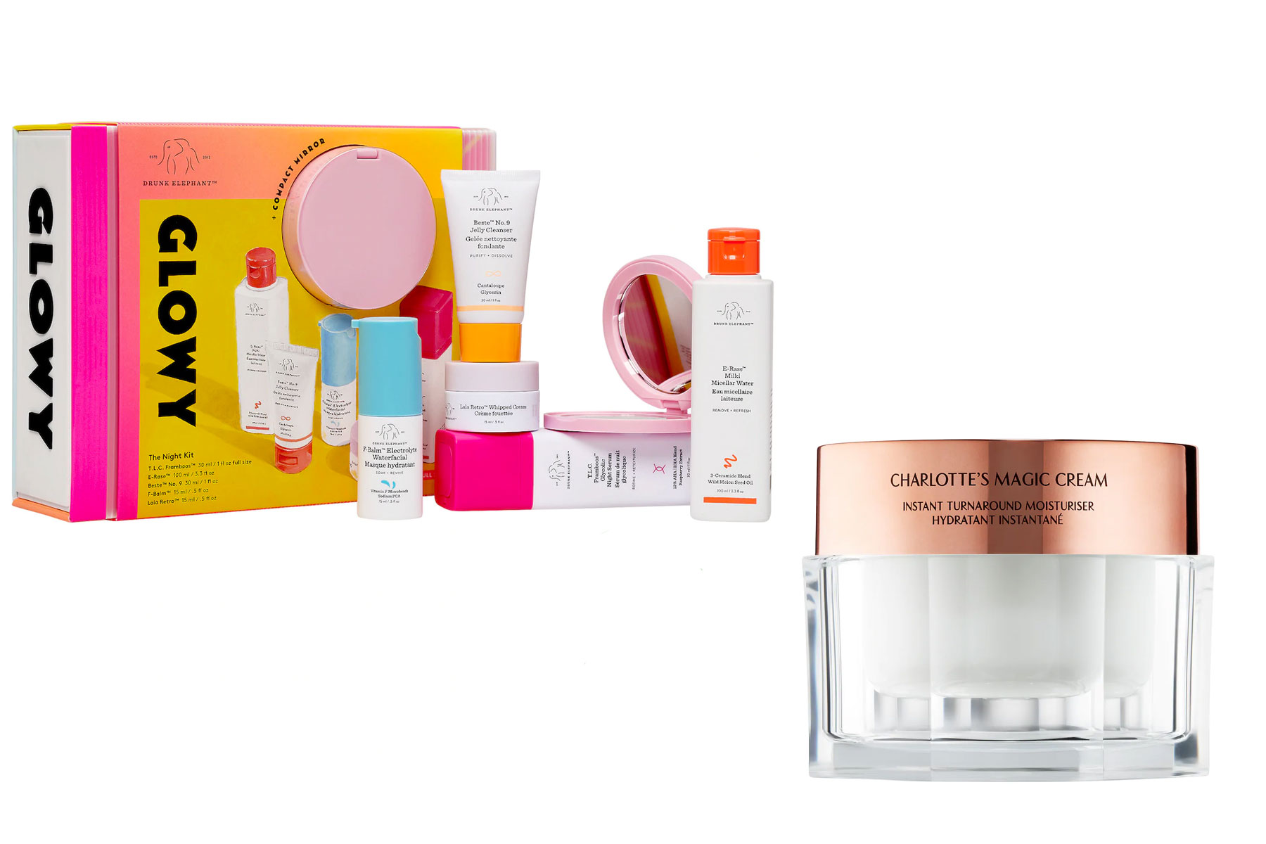 """From mask-induced breakouts to dry, stressed-out skin, 2020 has been hard on our faces. Since we started working from home, I've focused more on skincare and (a little bit) less on makeup, so I have tested tons of products. This year, I'll be gifting friends and family my tried-and-true, favorite skincare products. Drunk Elephant is one of my favorite skincare brands, and their holiday kits featuring full-size products offer great deals, so I always grab one for my mom and one for myself. I also love Charlotte Tilbury's Magic Cream for my friends dealing with dry skin — it's super rich (perfect for winter), and its luxe packaging makes it super gift-able,"" — Elizabeth Rhodes, Associate Digital EditorTo buy: (left) sephora.com, $98; (right) sephora.com, from $29"