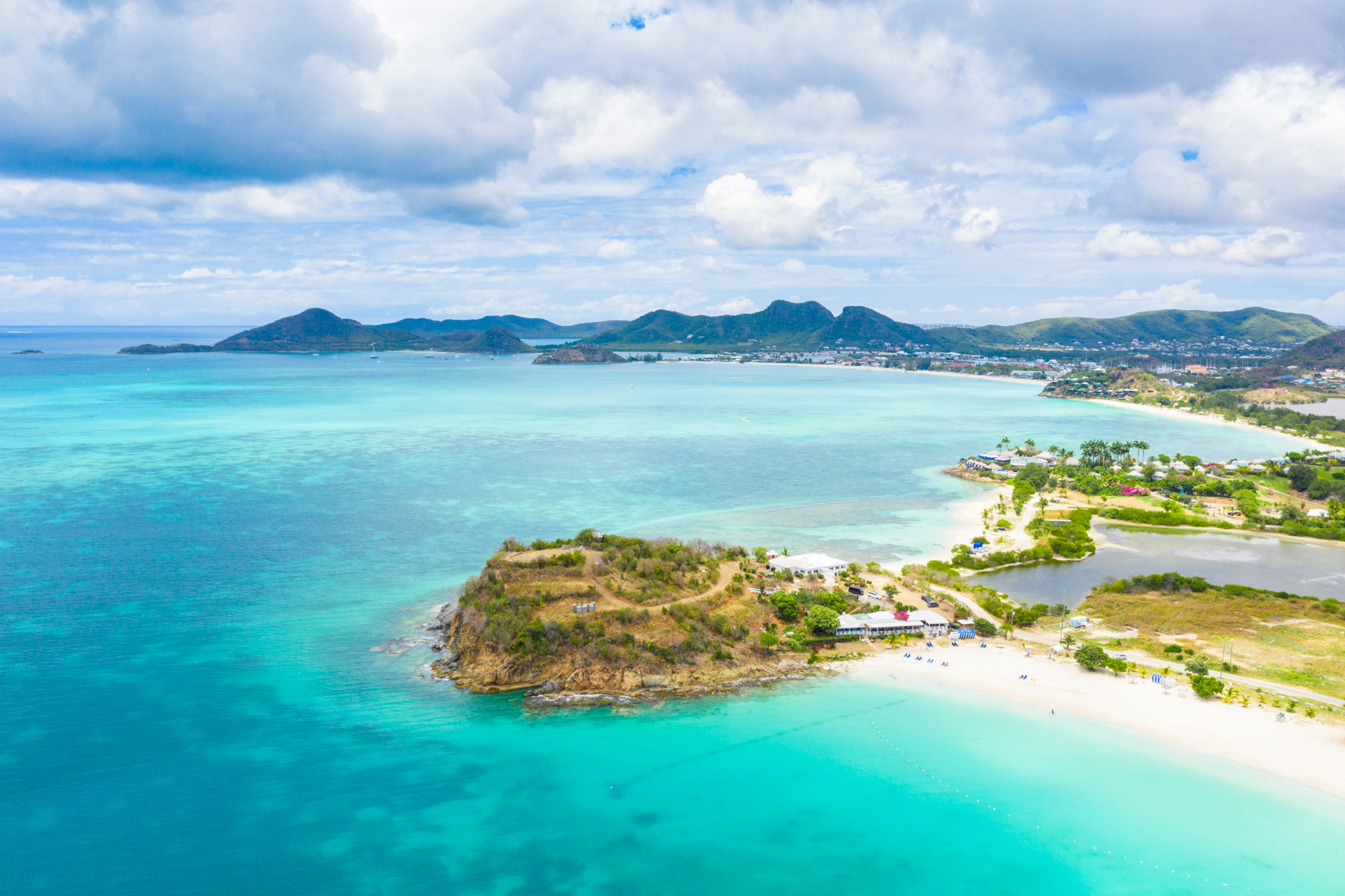 Aerial view of Ffryes Beach, Coco Beach, Diamond Point Cabanas, Antigua, Caribbean, West Indies