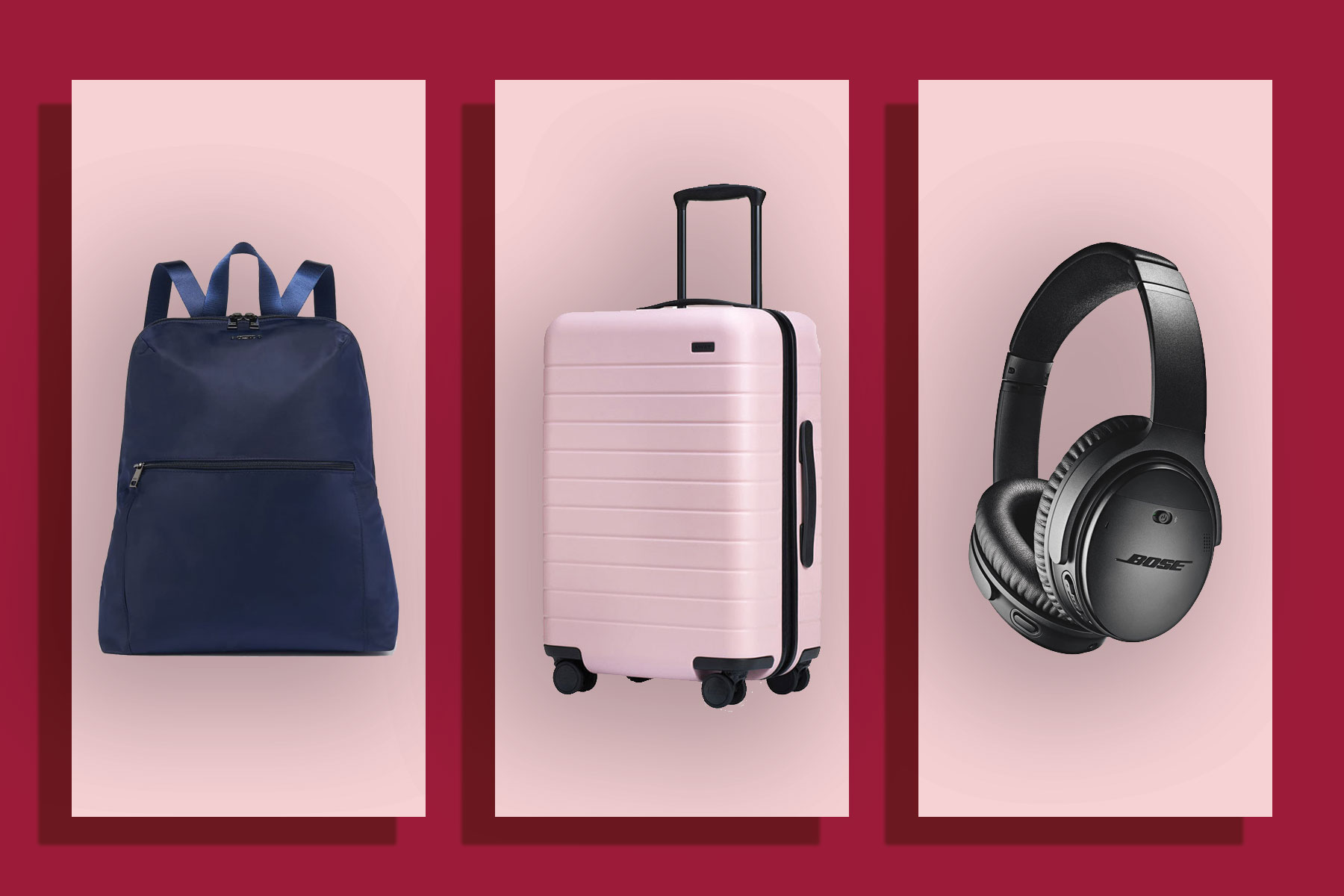 Backpack, suitcase, and headphones