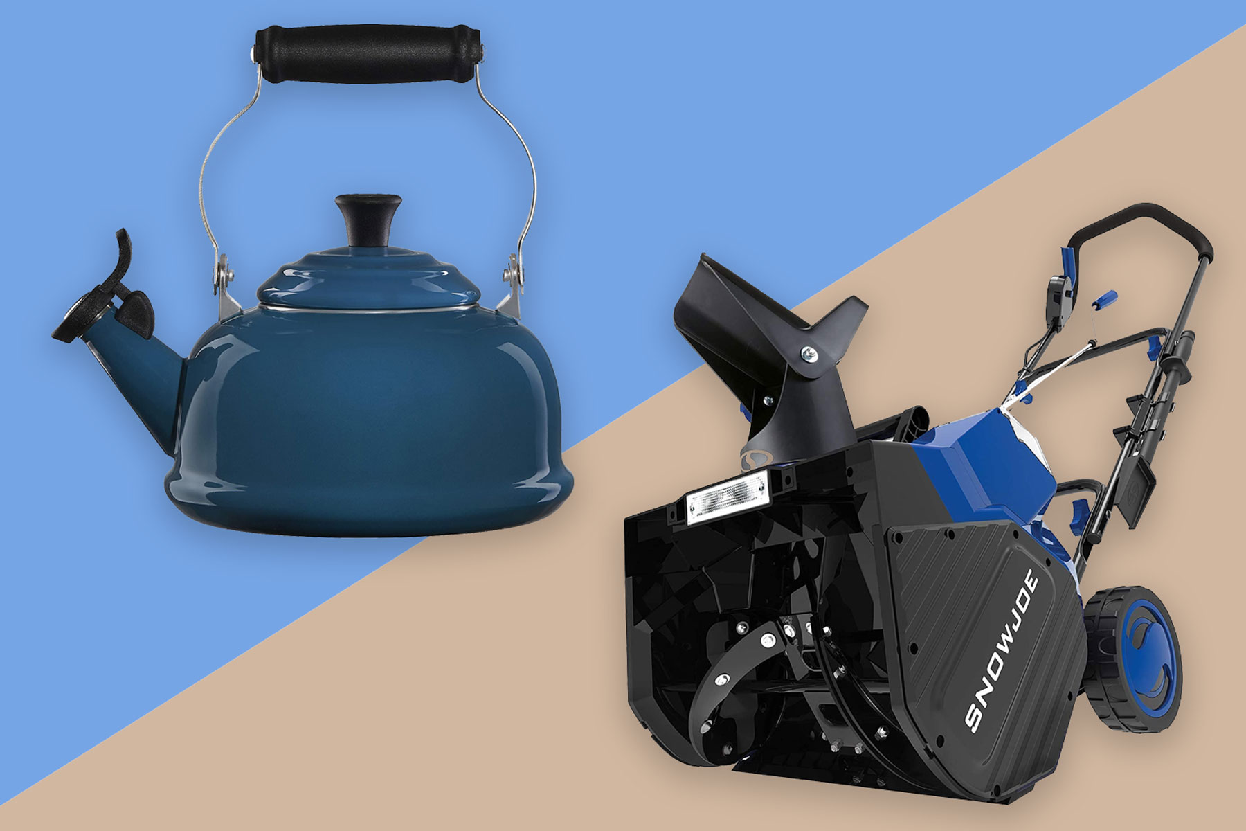 Tea kettle and snow blower