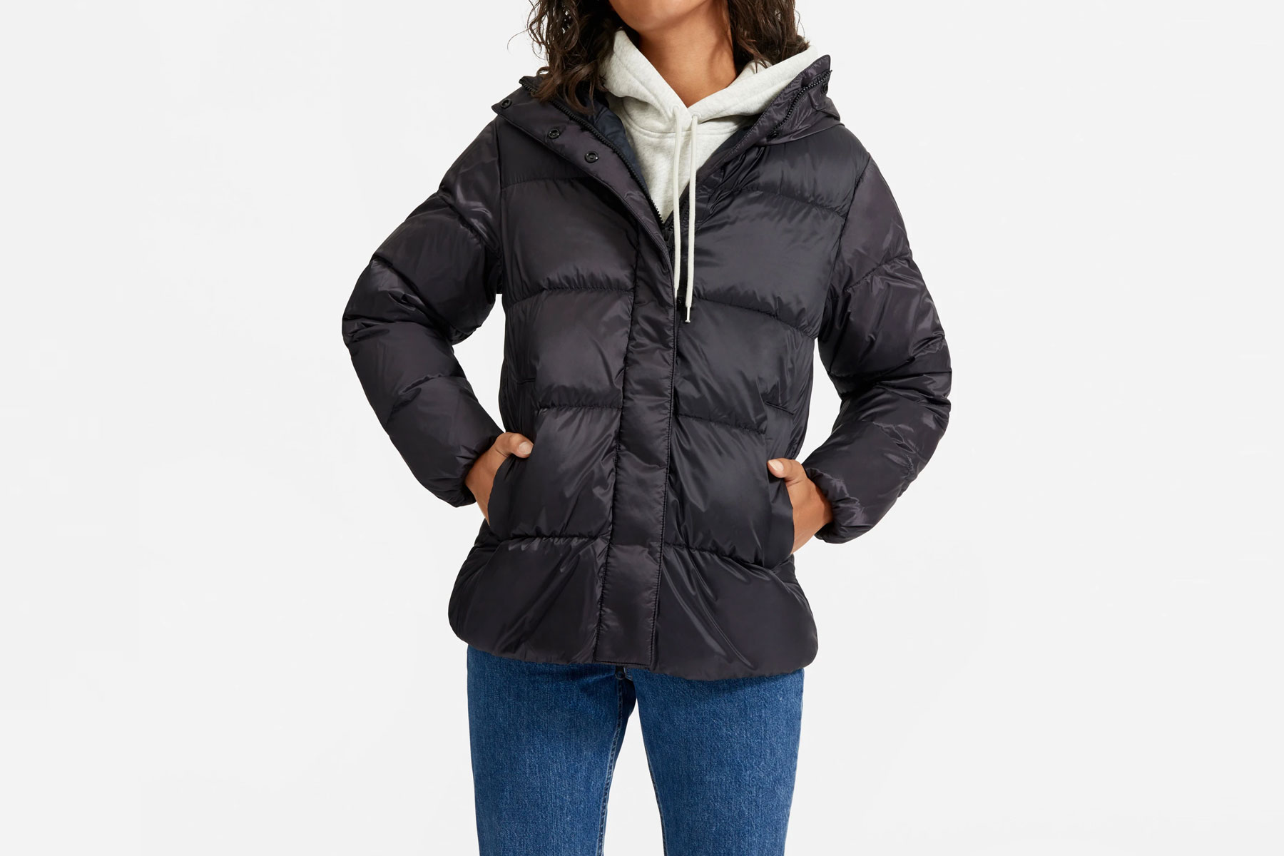 Black short puffer jacket