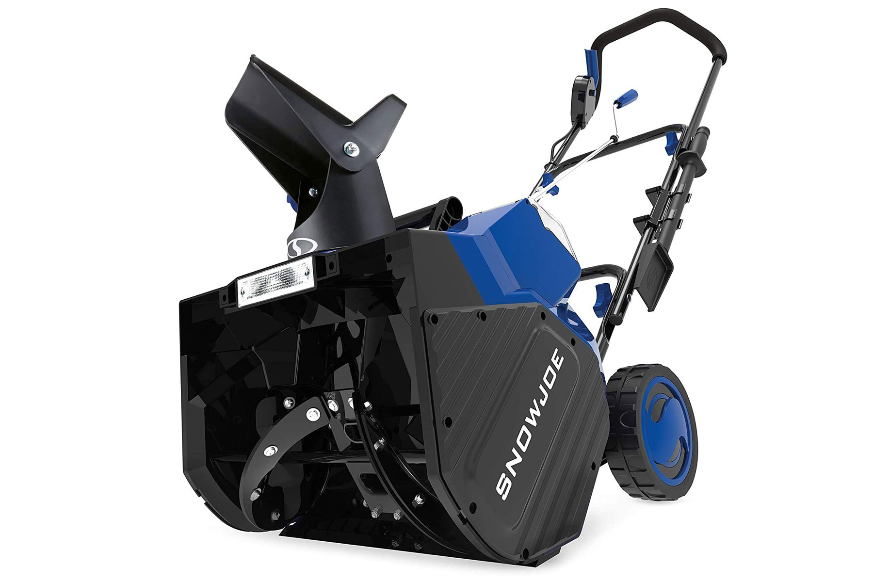 Black and blue snow blower