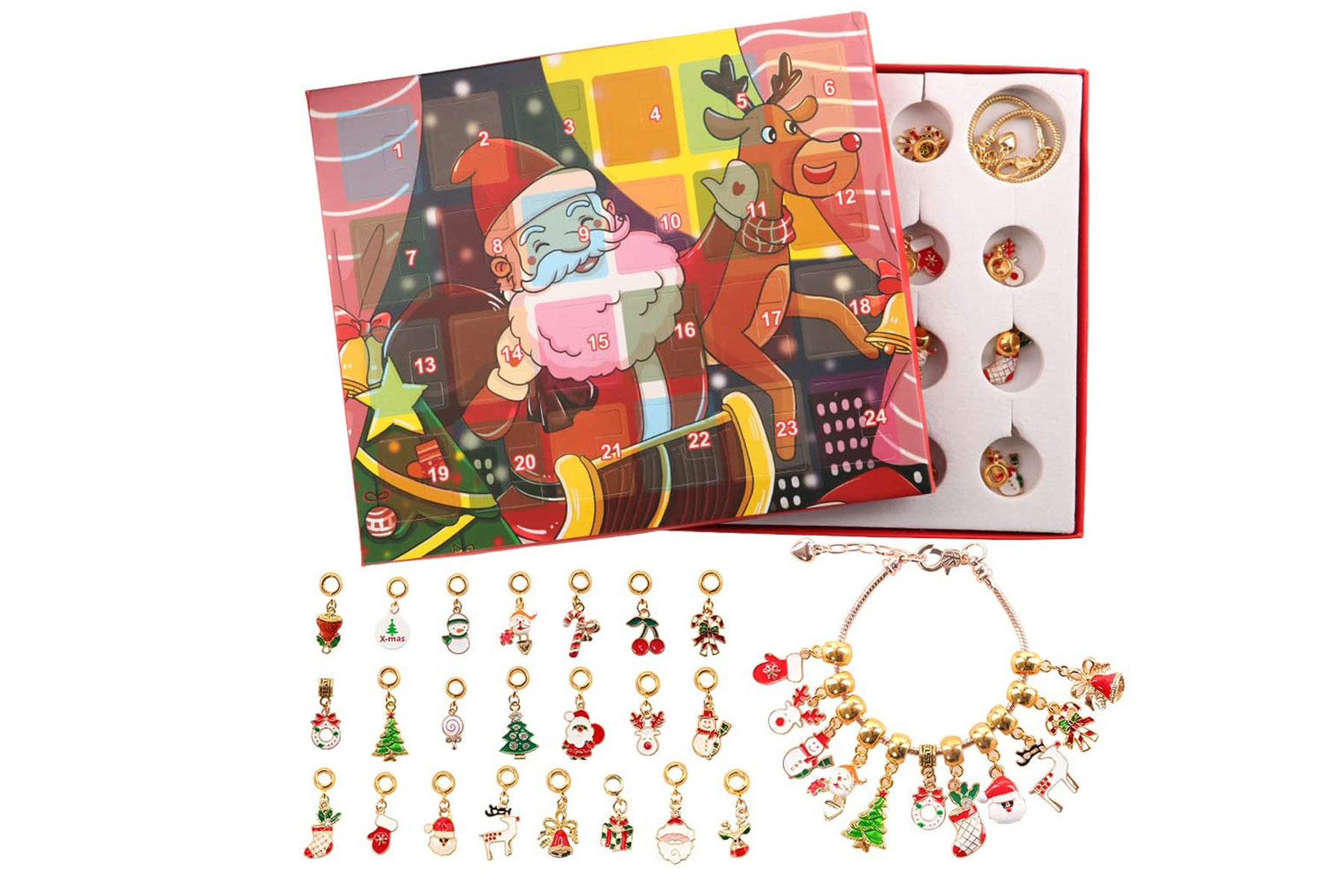 Advent calendar with jewelry charms