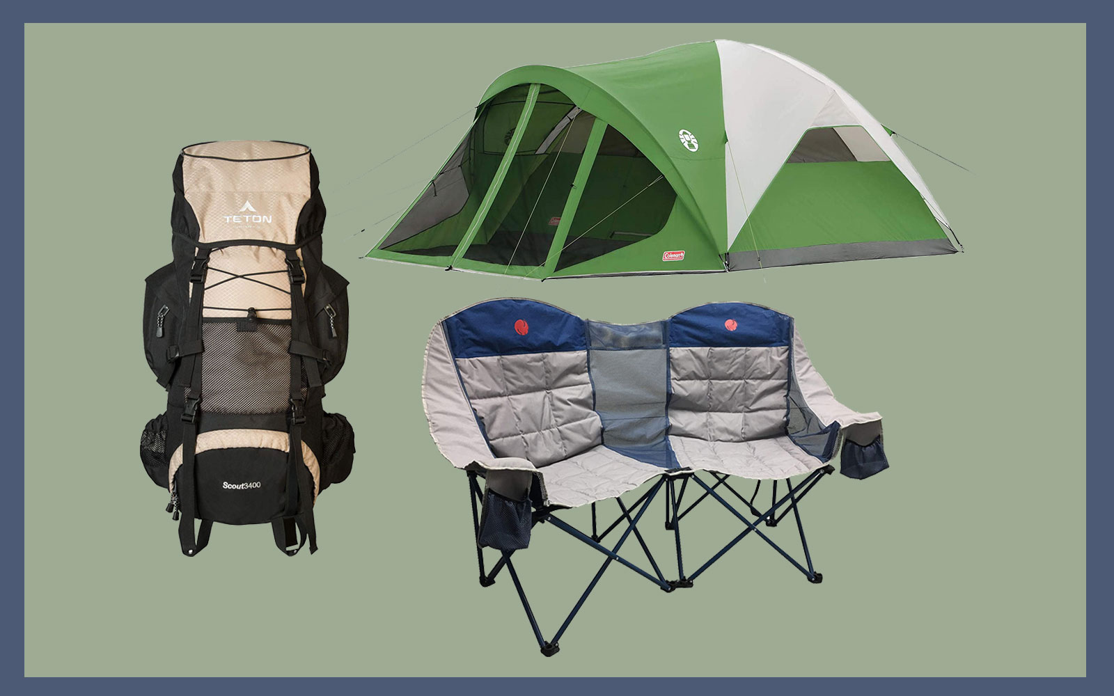 coleman tent, loveseat camping chair, backpack