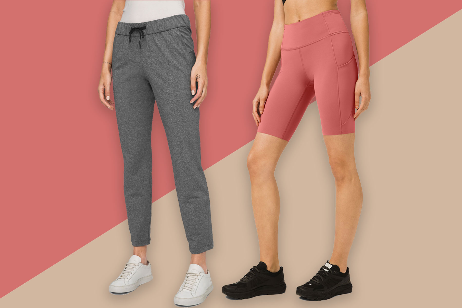 Women's grey track pants and pink bike shorts