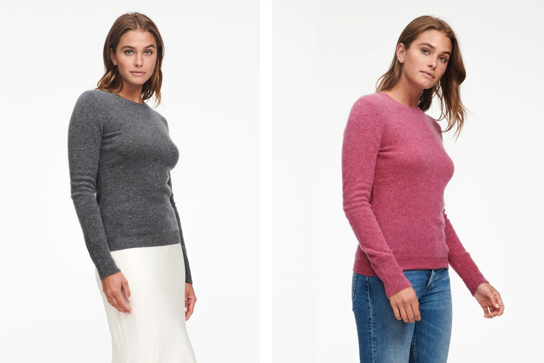 Women wearing grey and cranberry colored cashmere sweaters