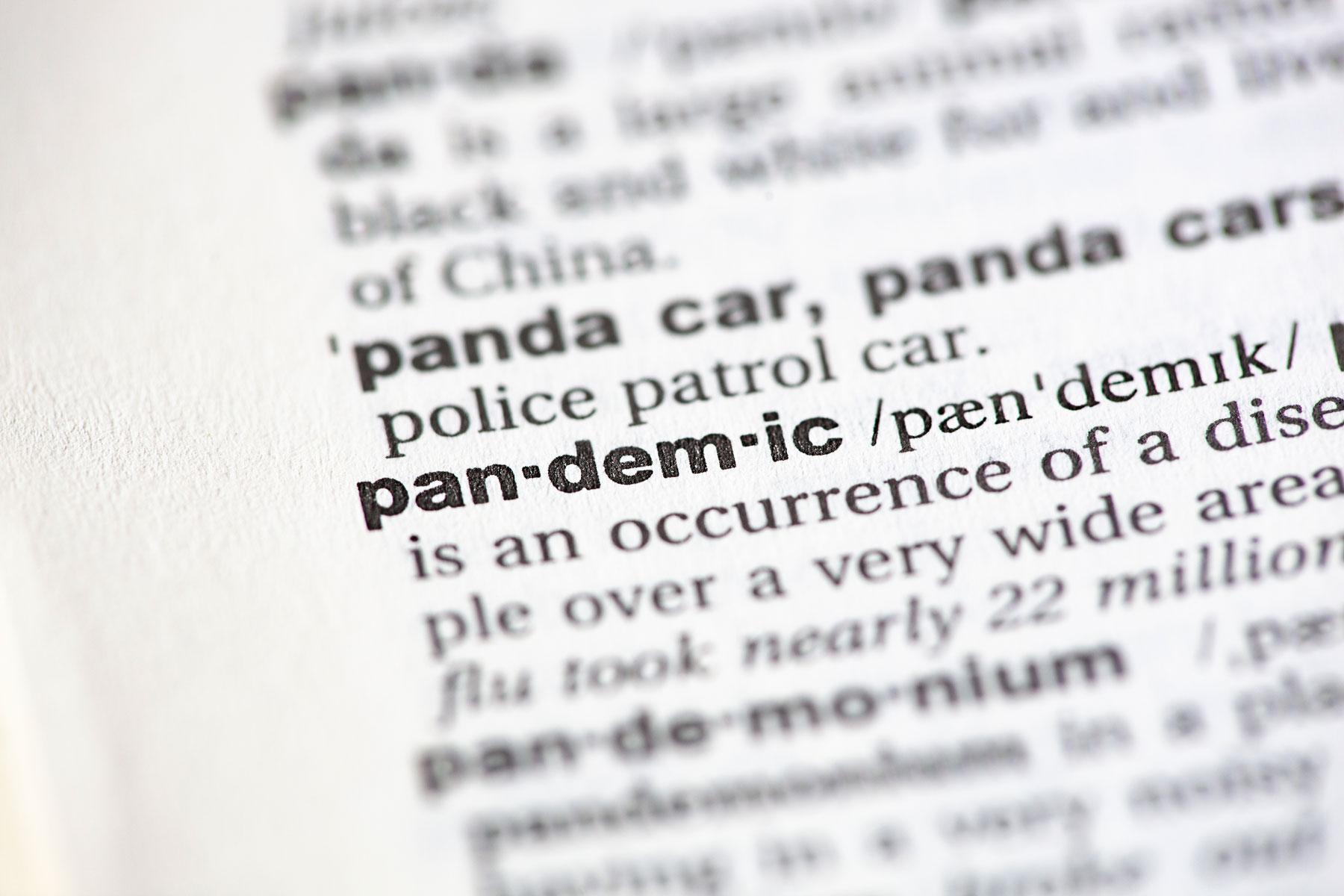 the word 'pandemic' appearing in a dictionary