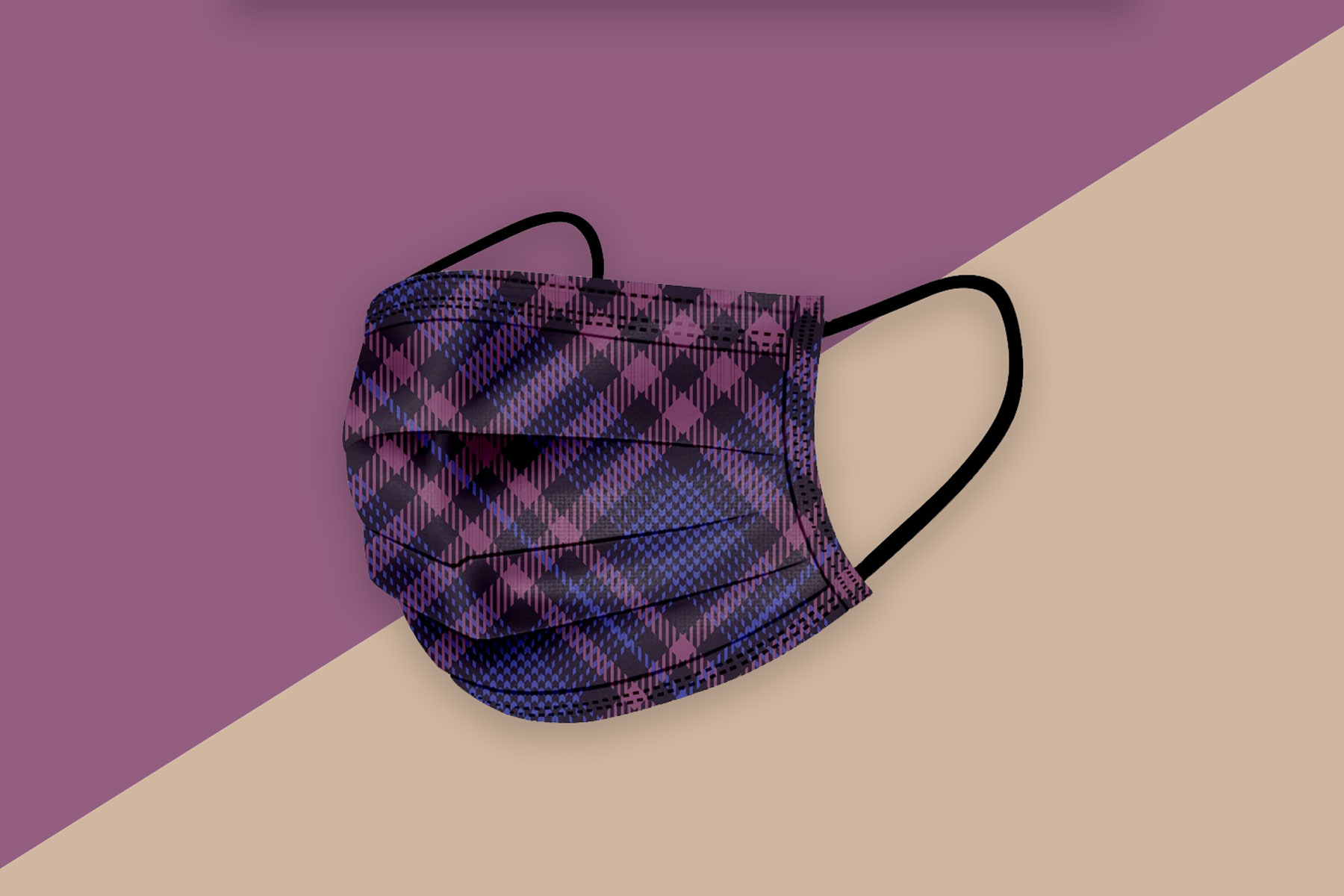 Purple and blue plaid face mask