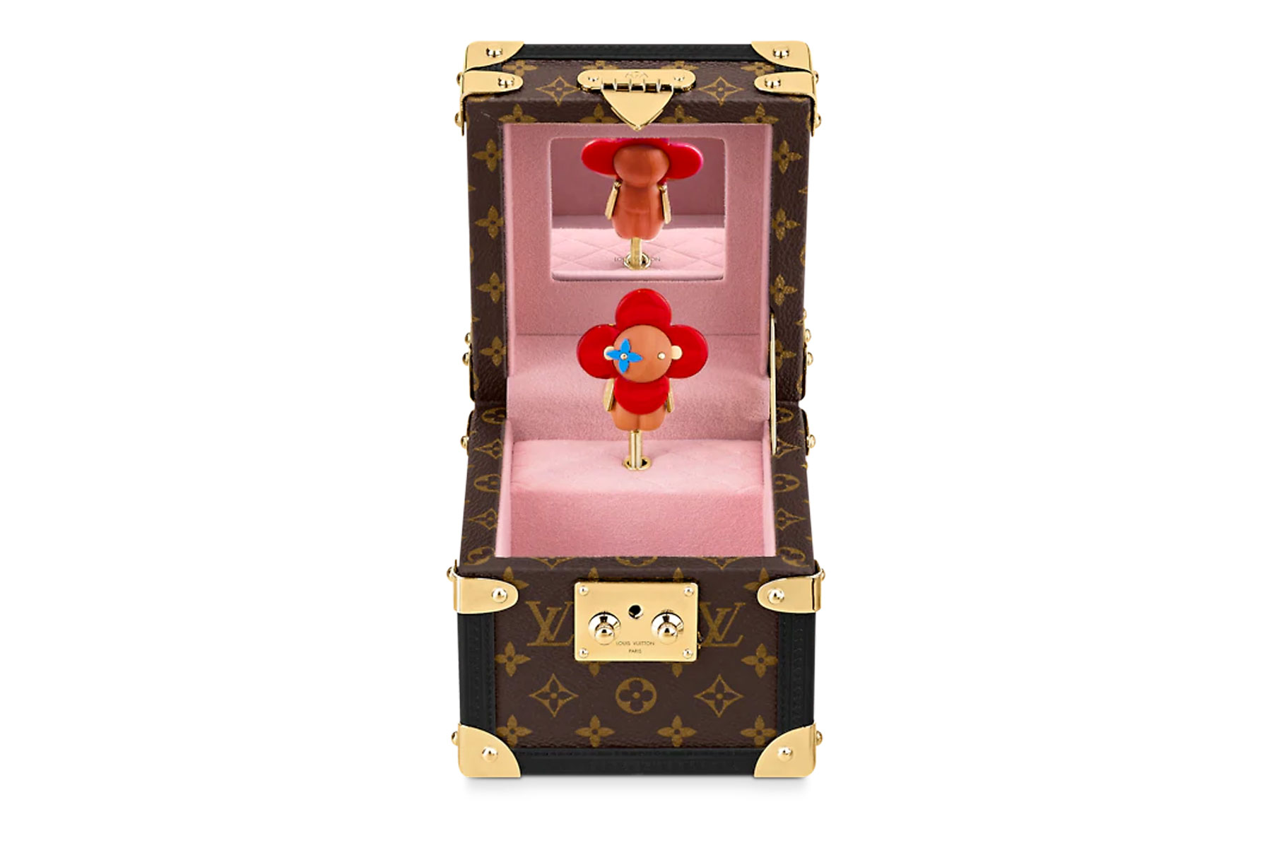 Brown and gold music box with pink interior