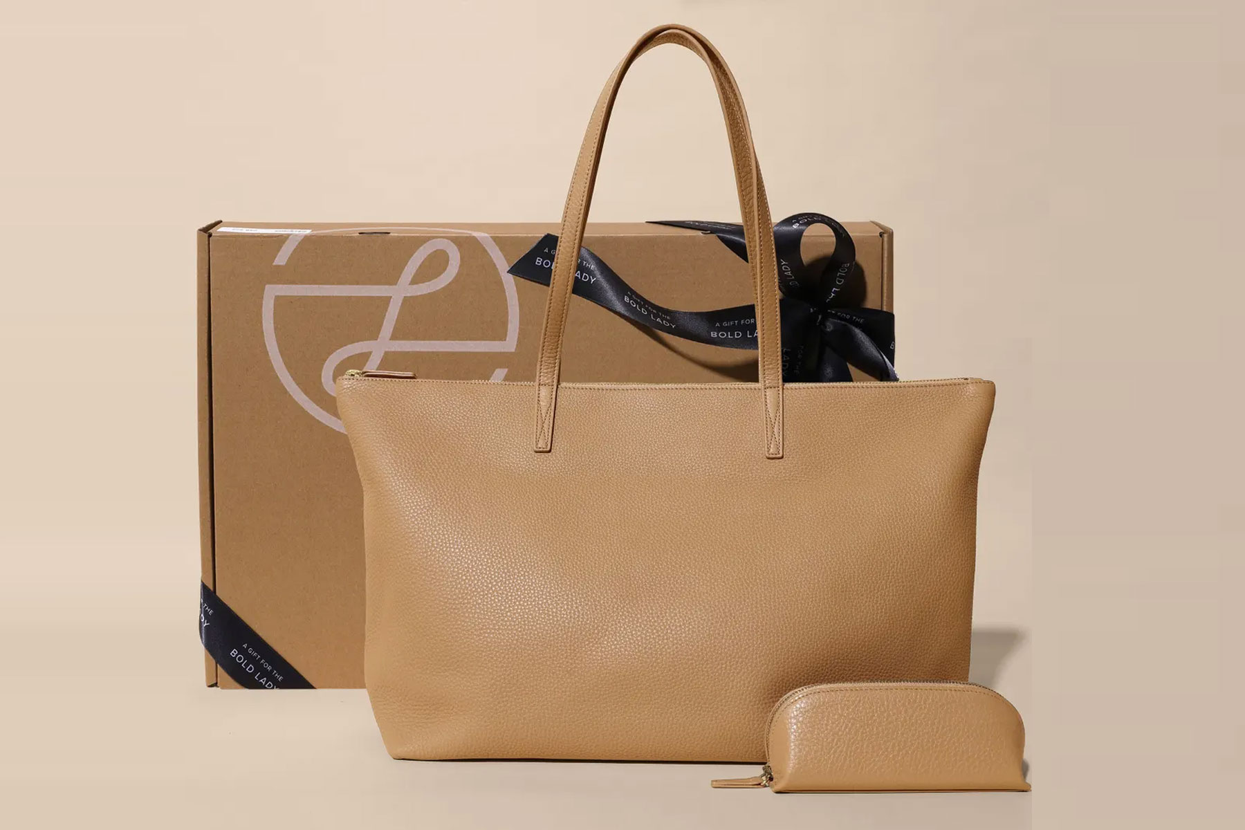 Leather tote and gift box