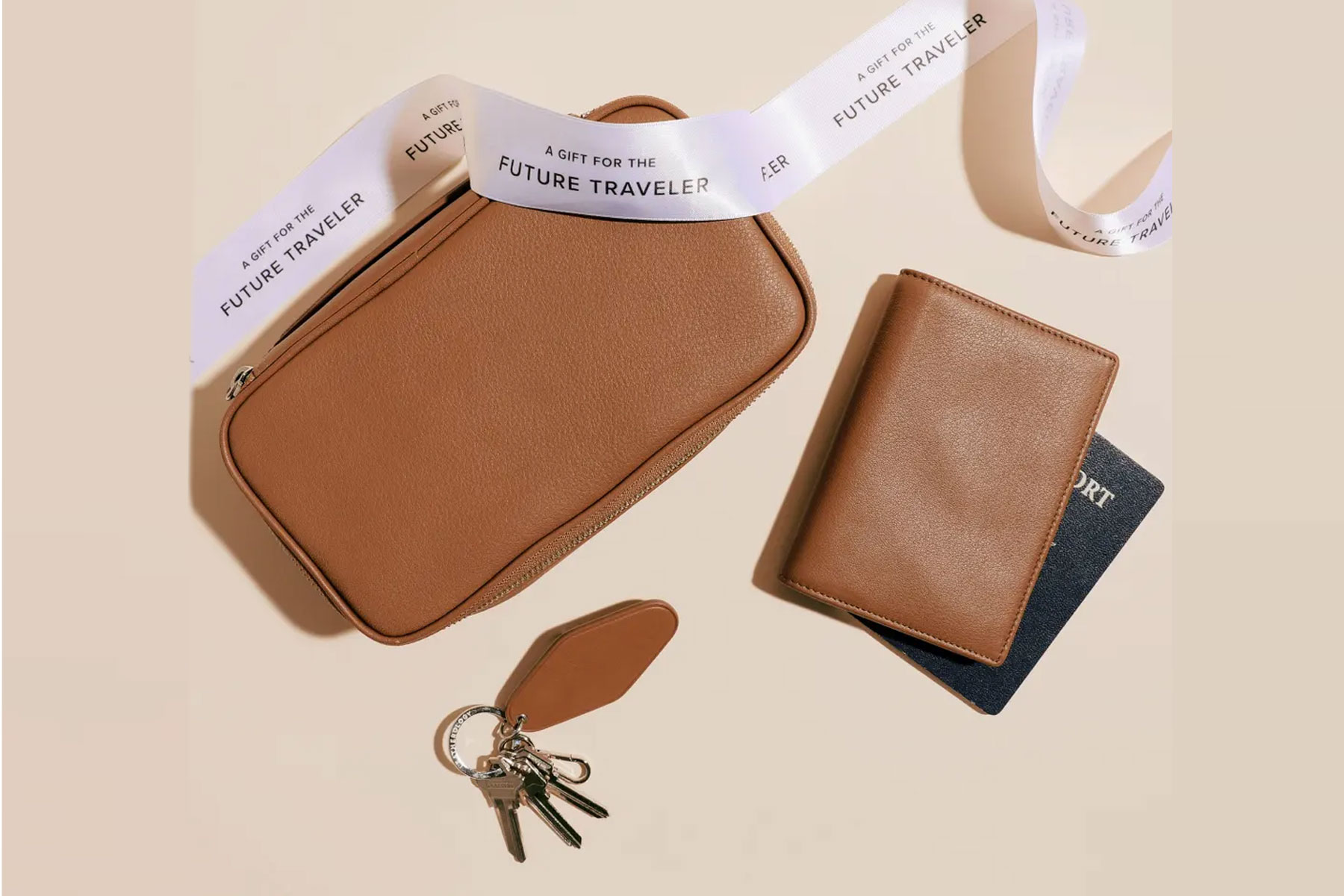 Leather travel cases and passport