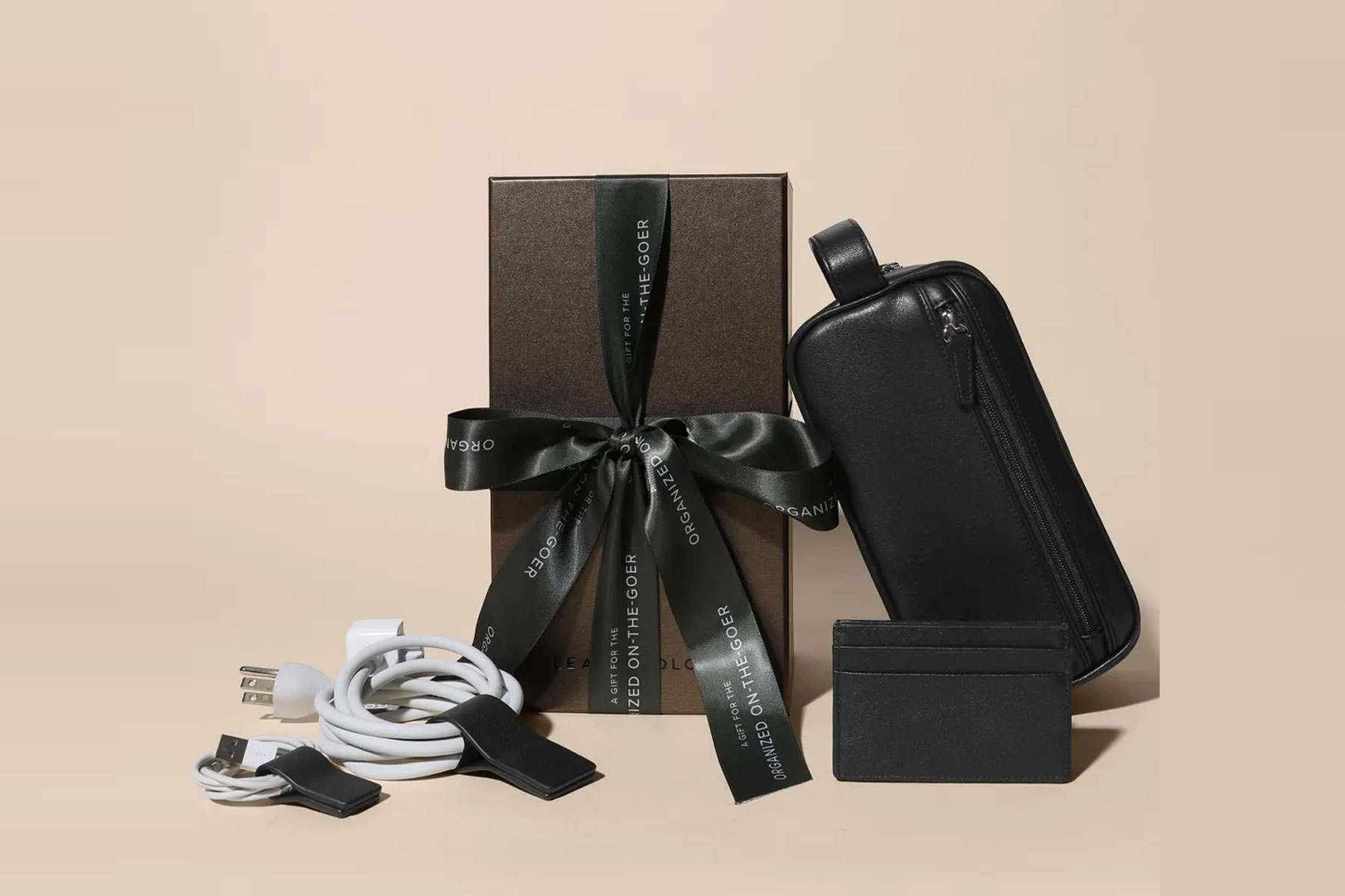 Black leather travel cases and gift box