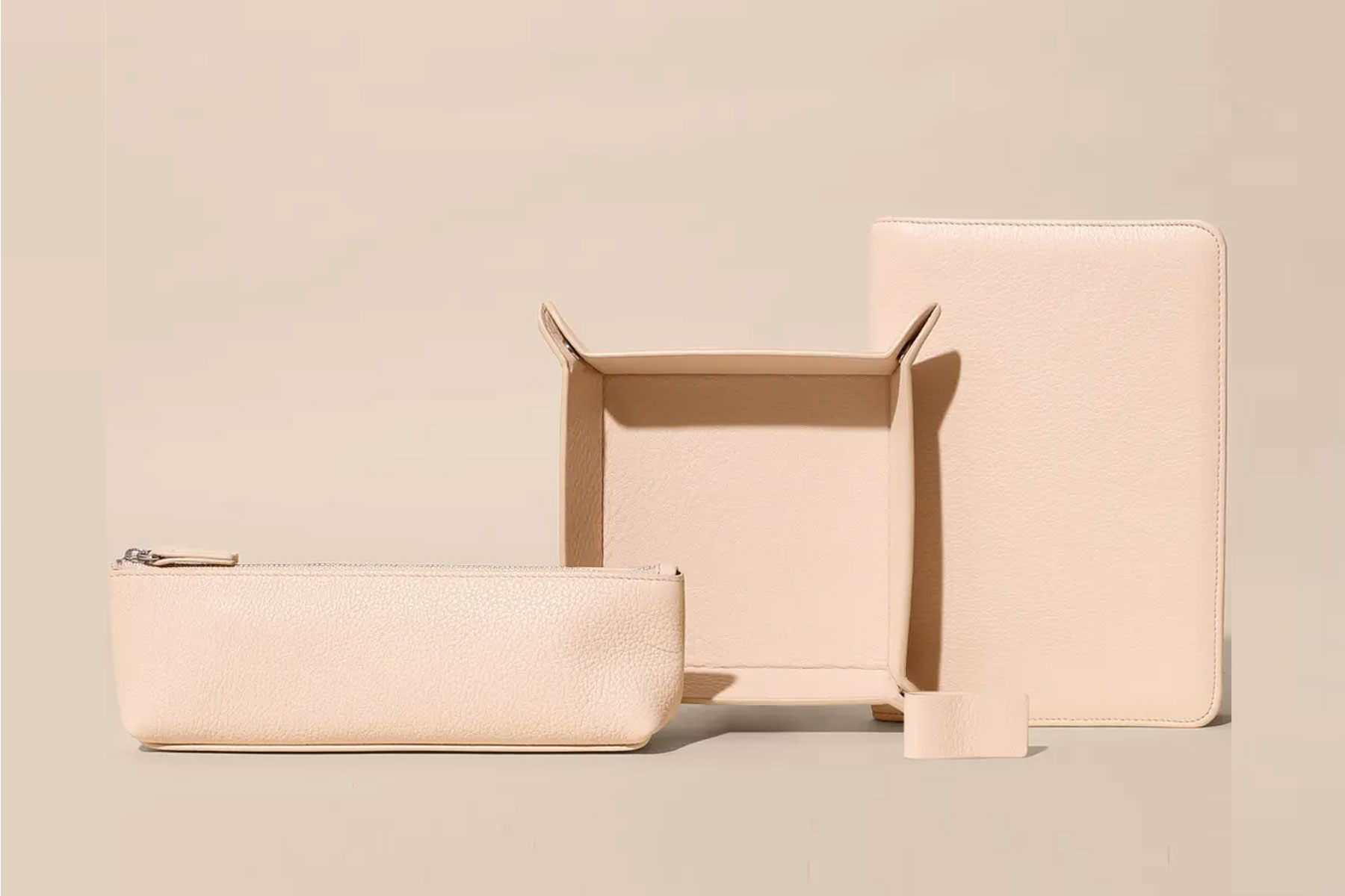 light pink leather desk accessories