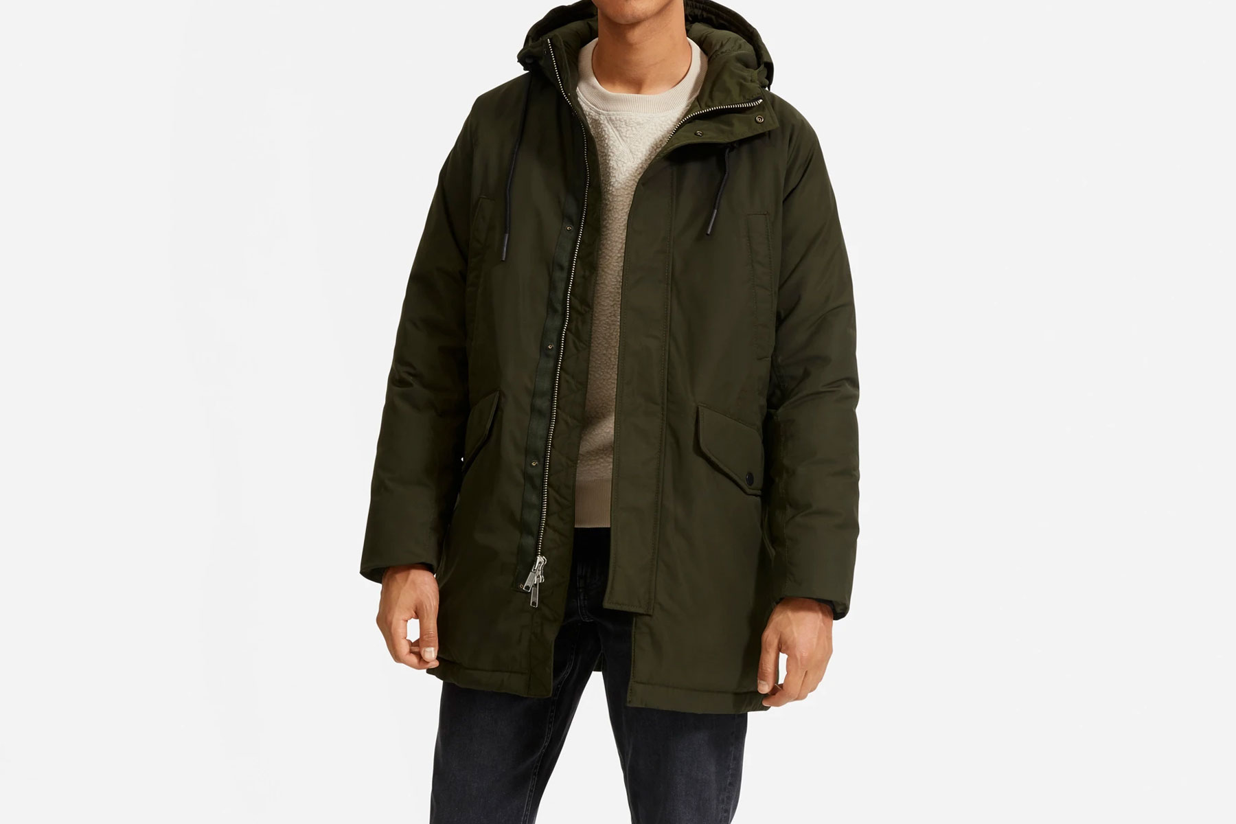 Men's dark green parka coat
