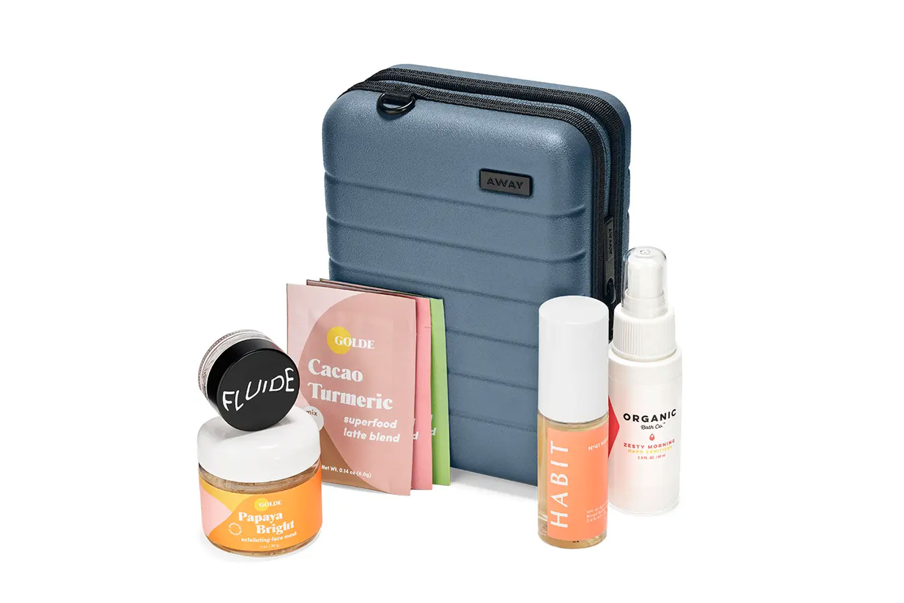 Mini suitcase with skincare and wellness products