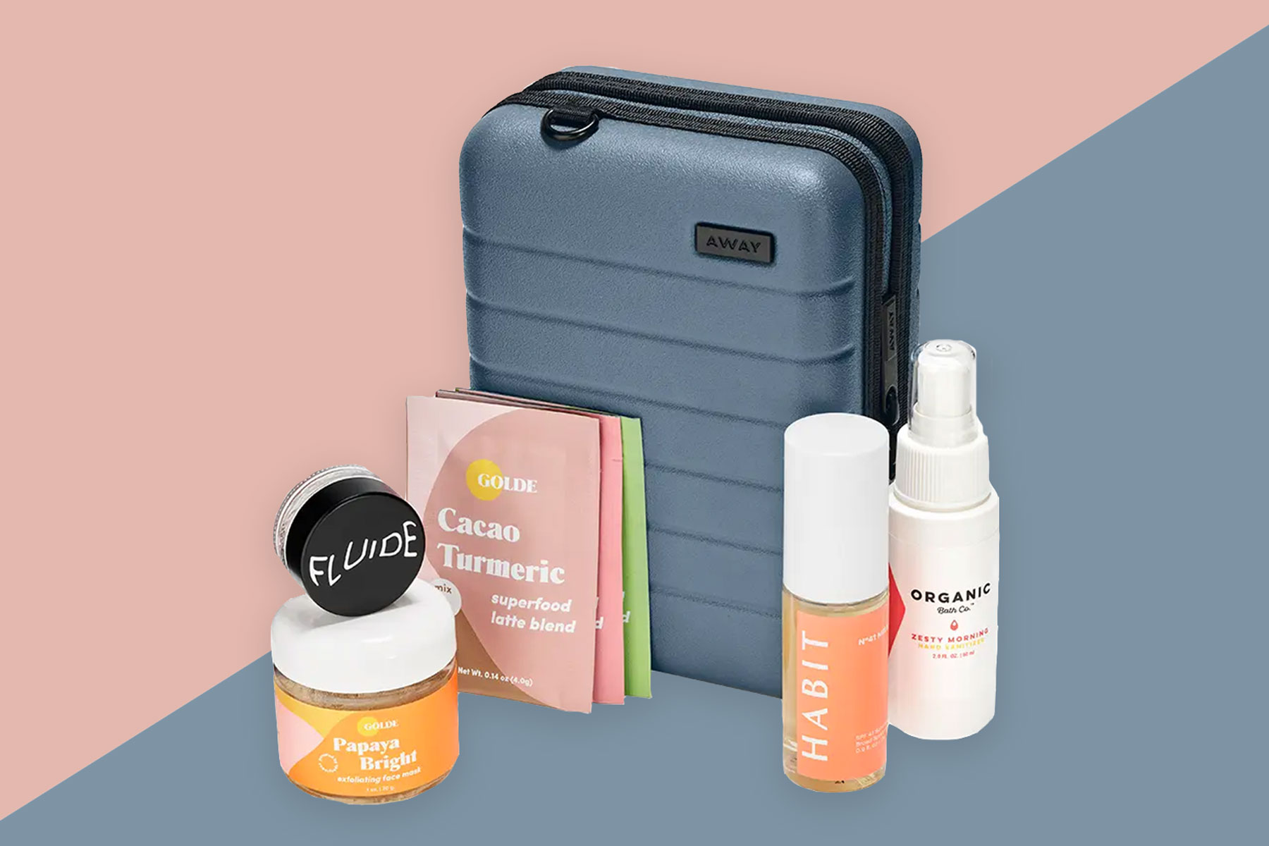 Away mini suitcase with wellness and skincare products