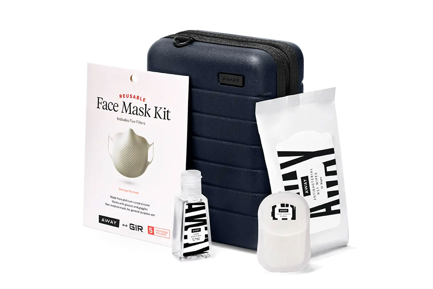 Mini suitcase with skincare products and protective face mask