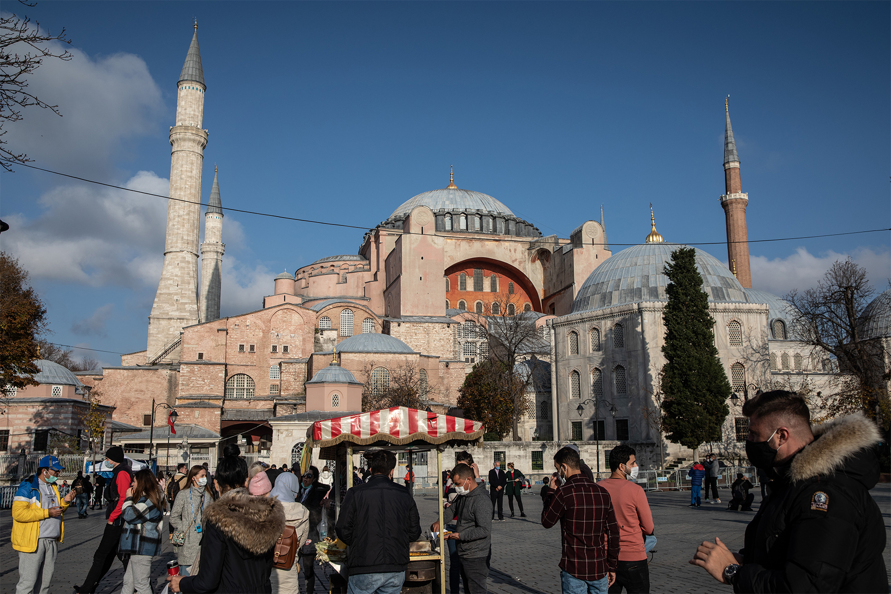 Tourists visit the Hagia Sophia Grand Mosque