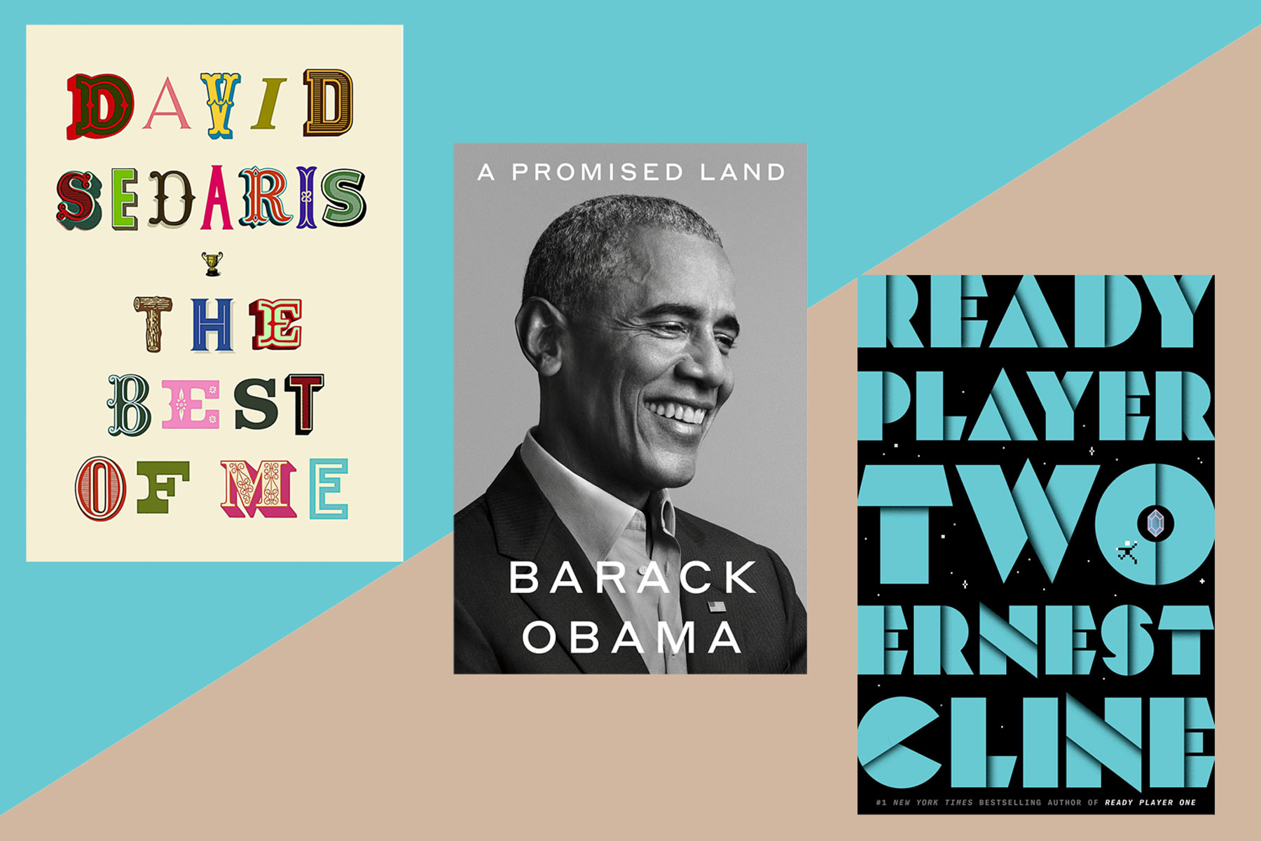 Three book covers: The Best of Me, A Promised Land, and Ready Player Two