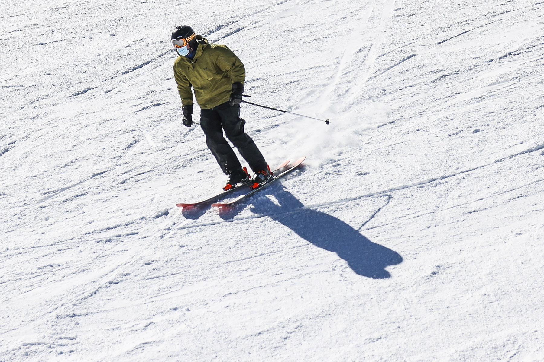 skier with face mask on