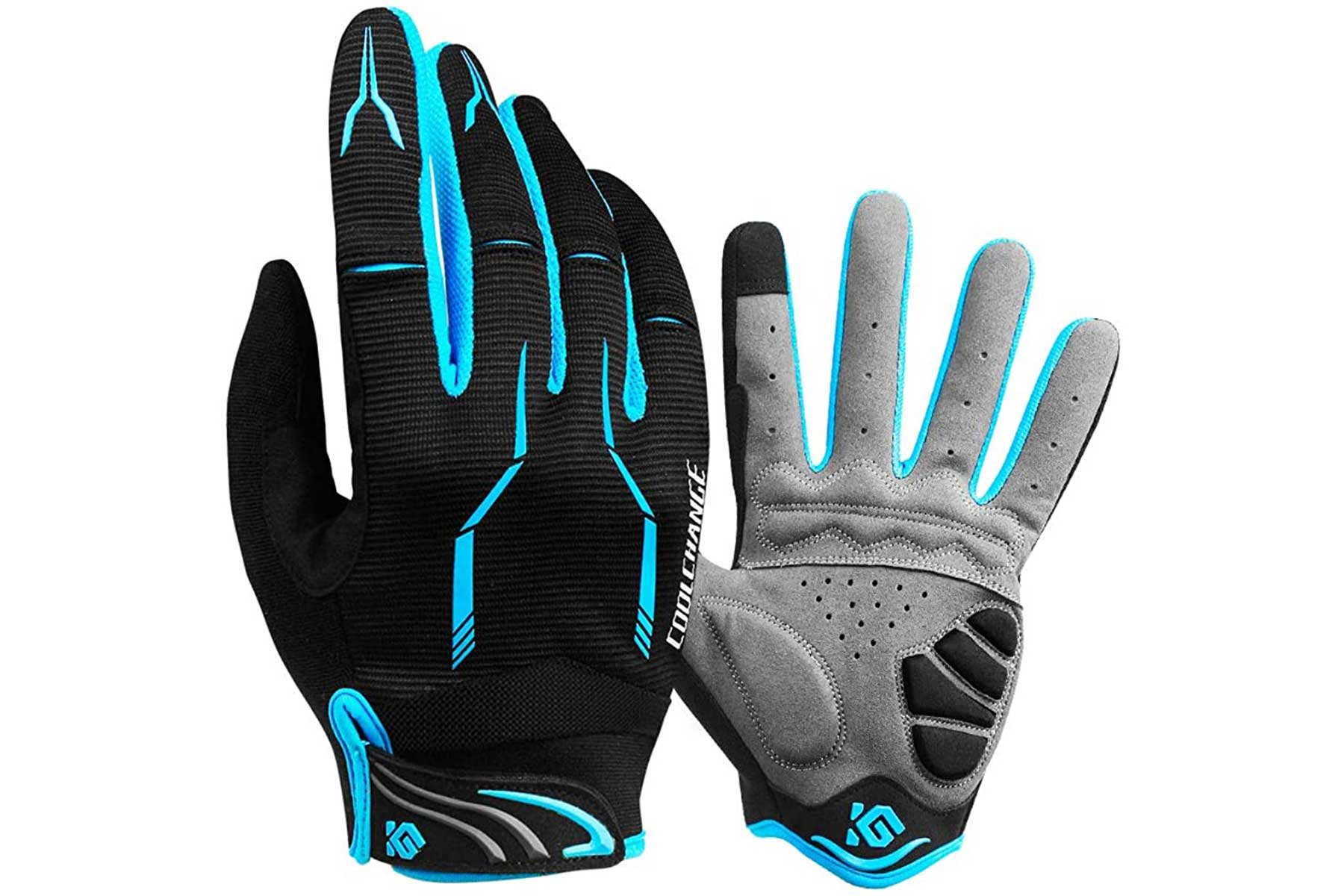 Cool Change touch screen riding gloves blue