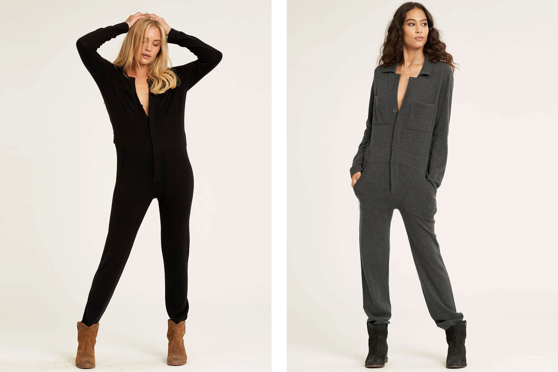 Women wearing black and grey cashmere jumpsuits