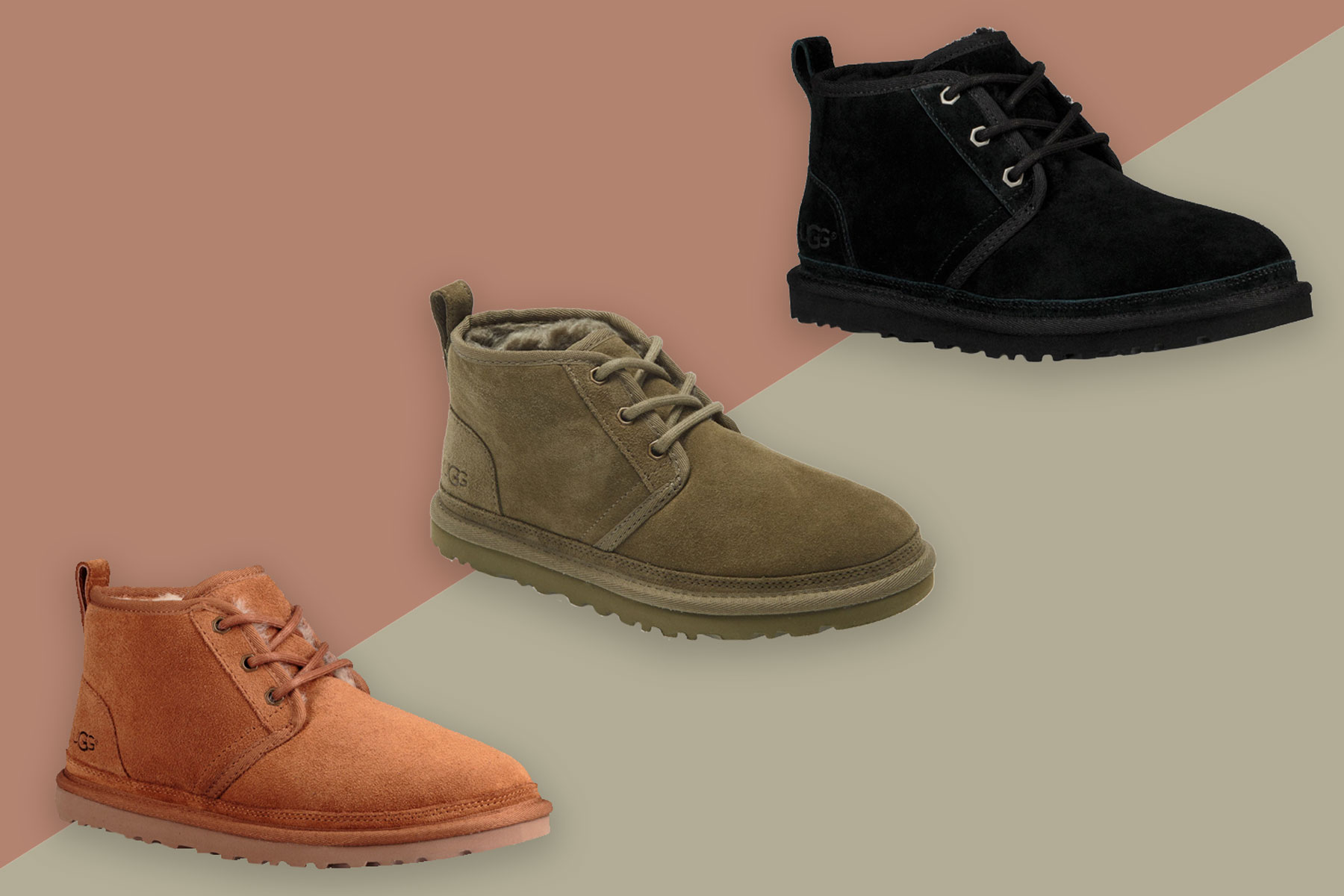 Brown, olive green, and black suede chukka boots
