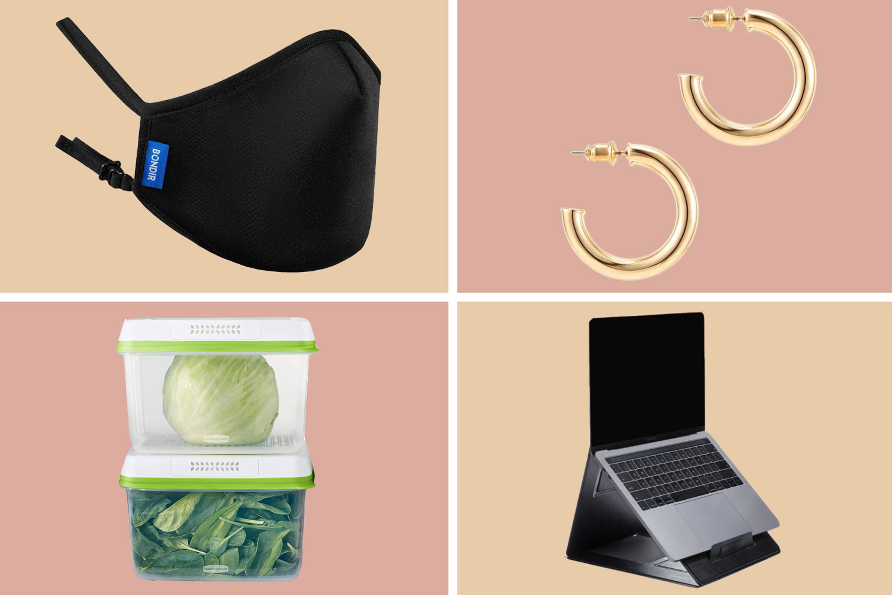 Black face mask, gold hoop earrings, clear food containers, and grey laptop stand