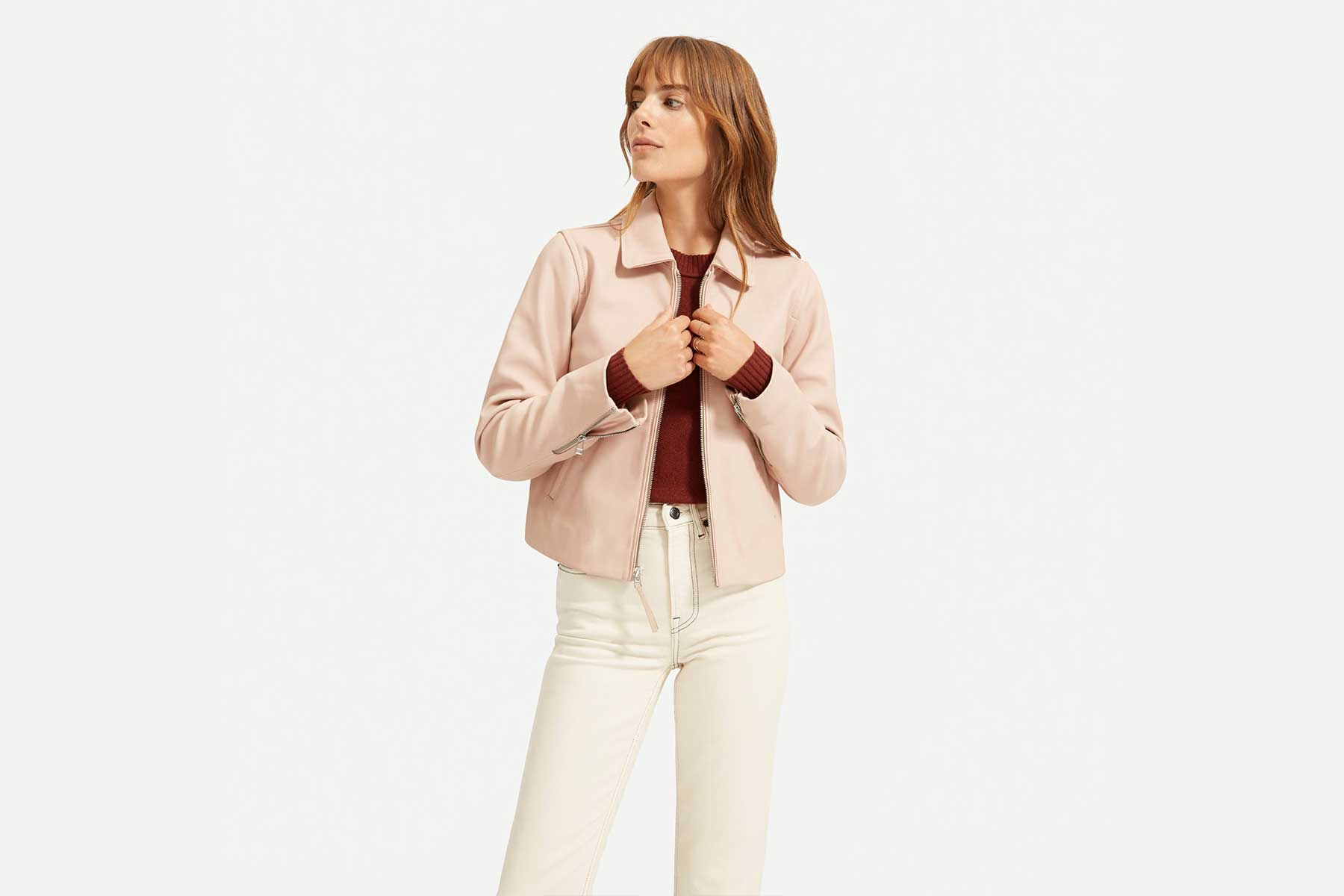 Everlane The Modern Leather Jacket in pink