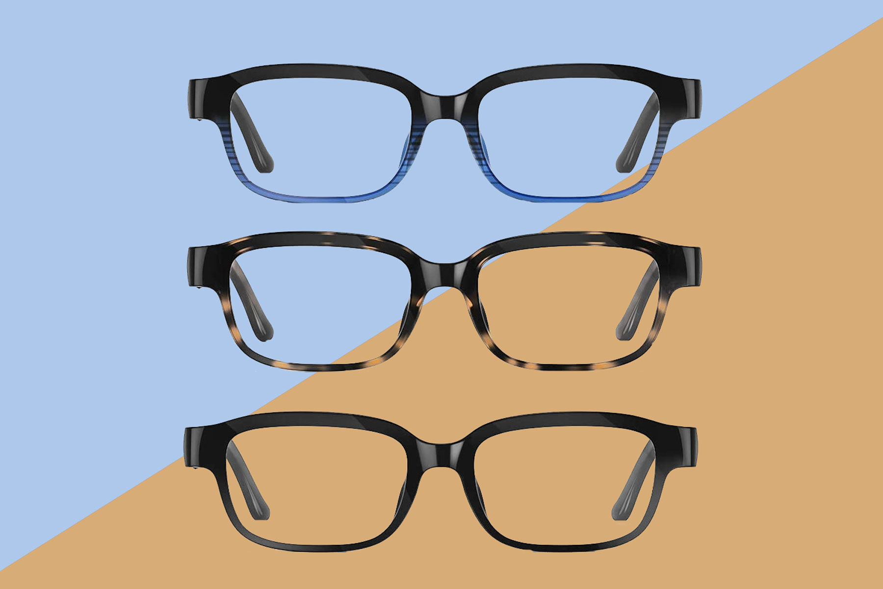 Three pairs of rectangular-shaped eyeglasses