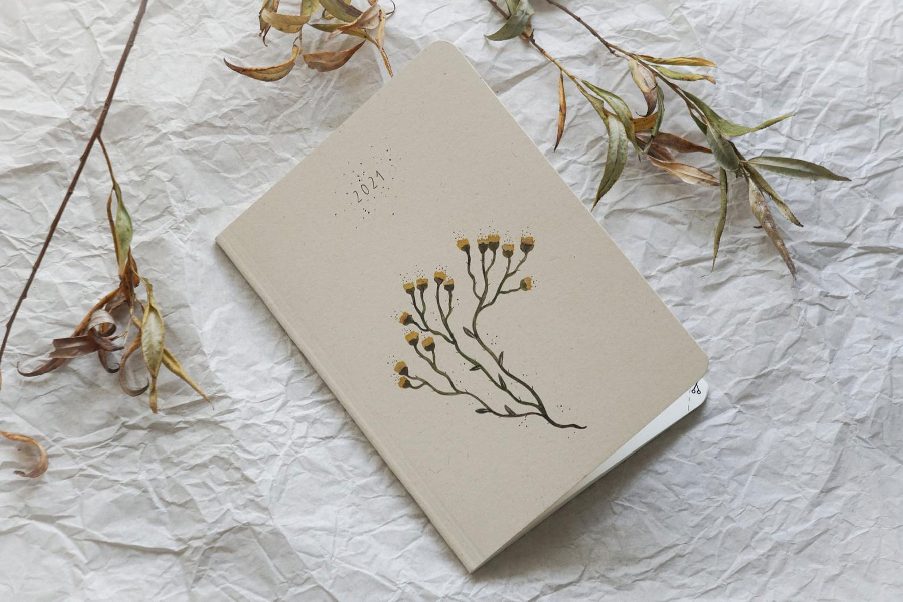 Cream colored and floral planner notebook