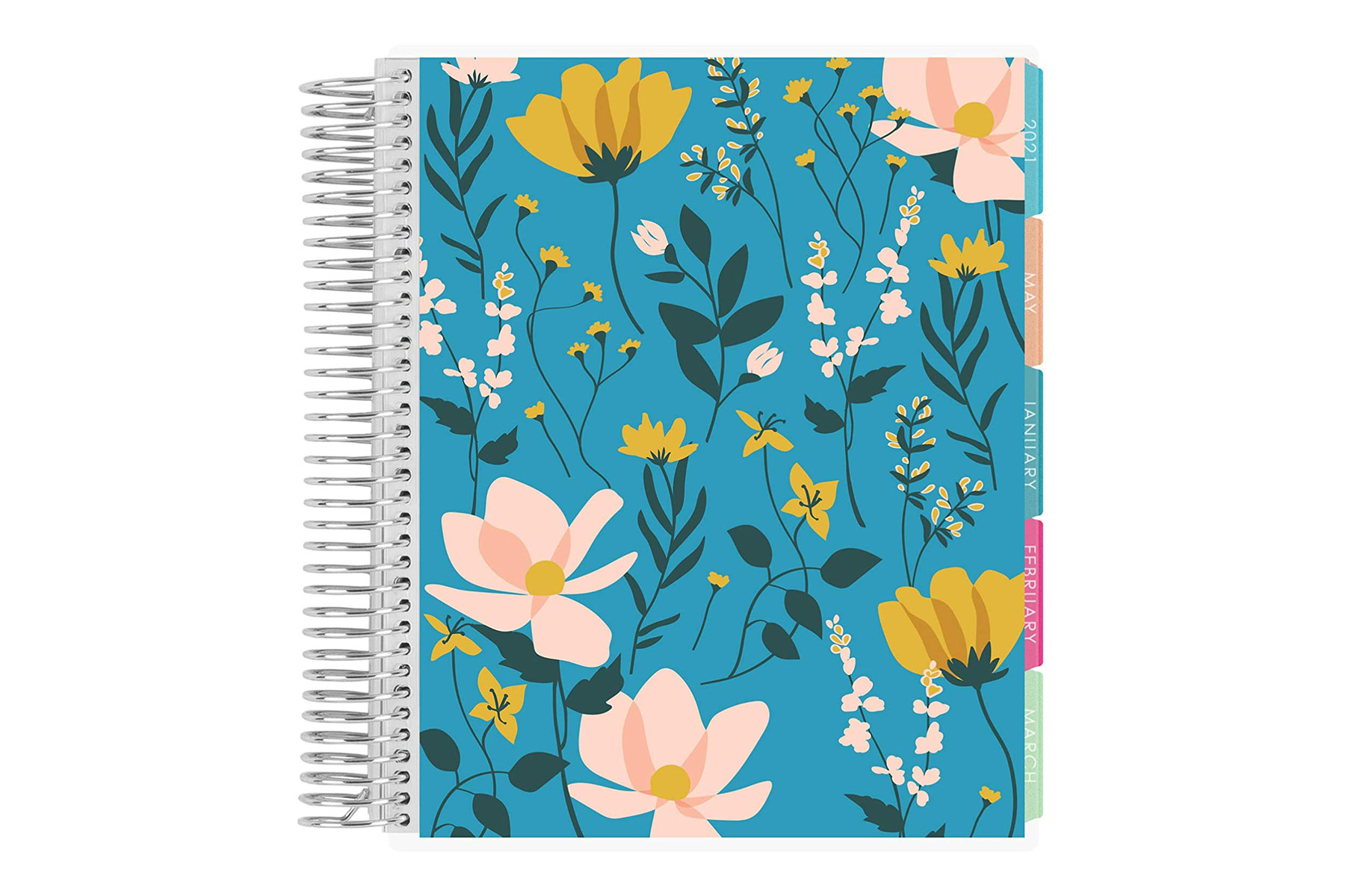 Blue and pink floral planner