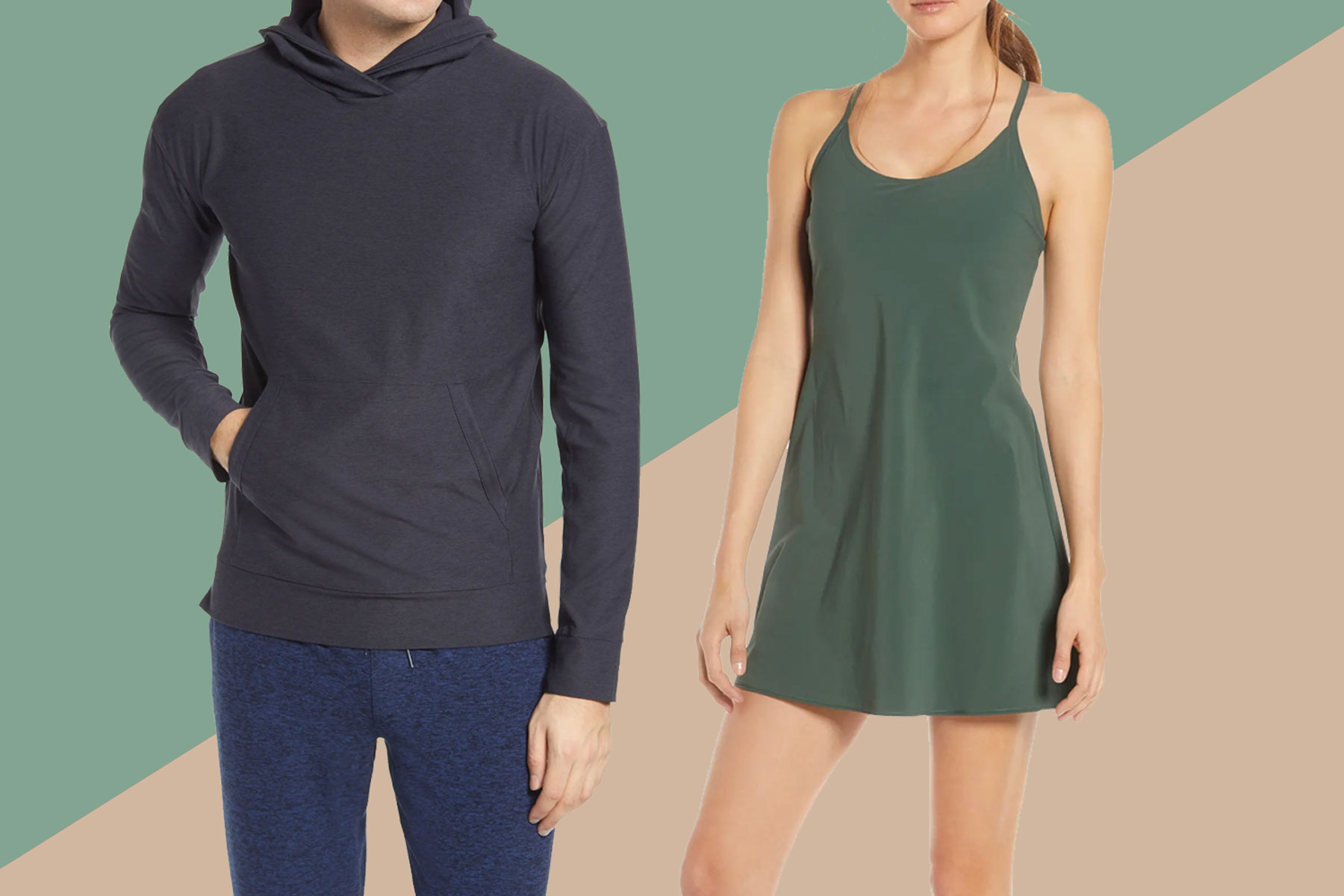Man wearing black/grey hoodie and woman wearing olive green exercise dress
