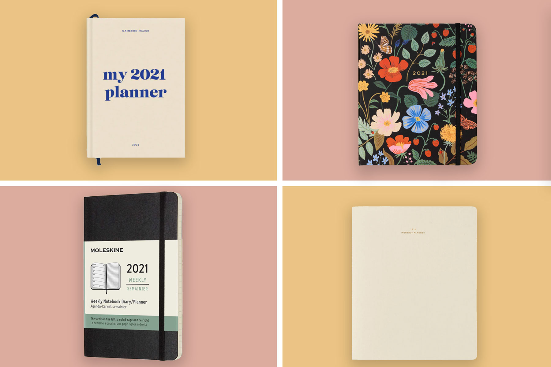 Four different planner notebooks