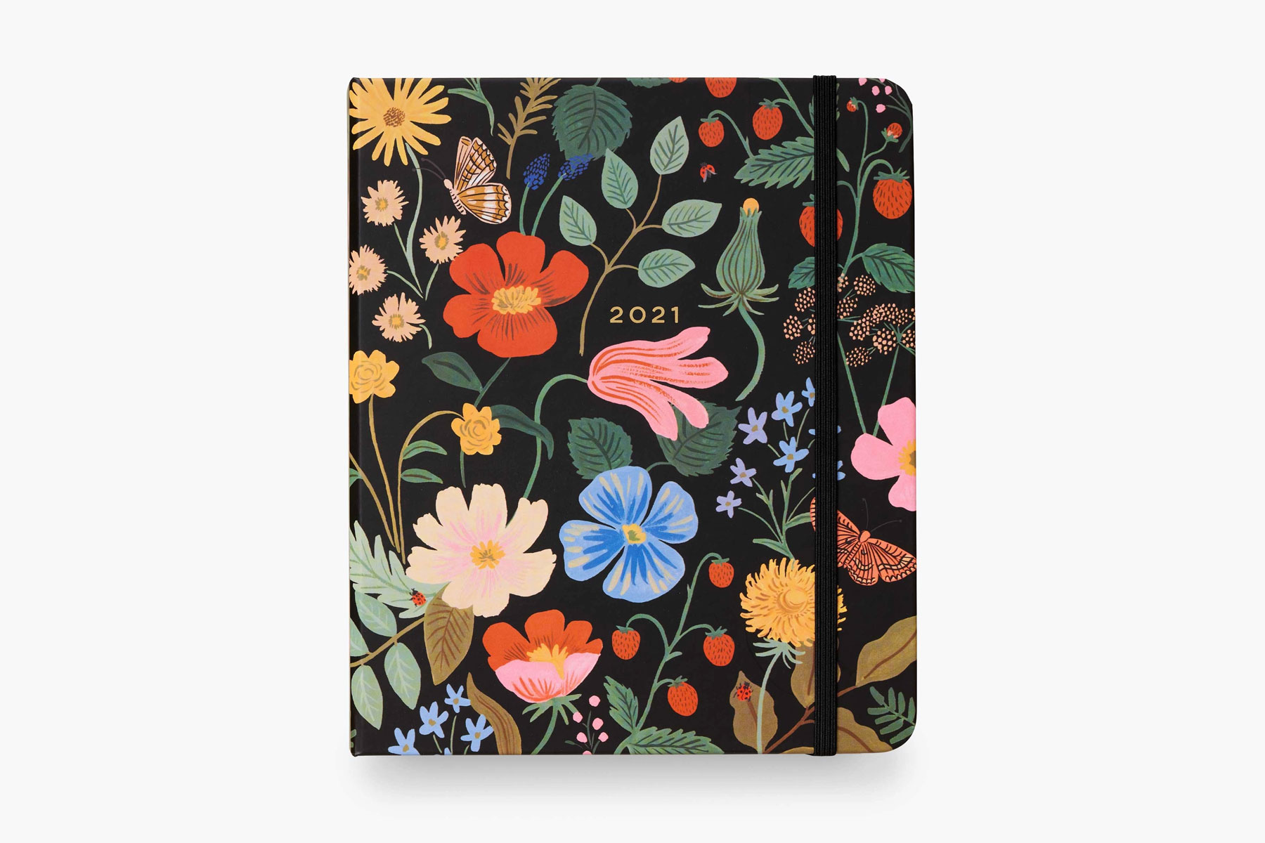 Black and multi-colored floral planner