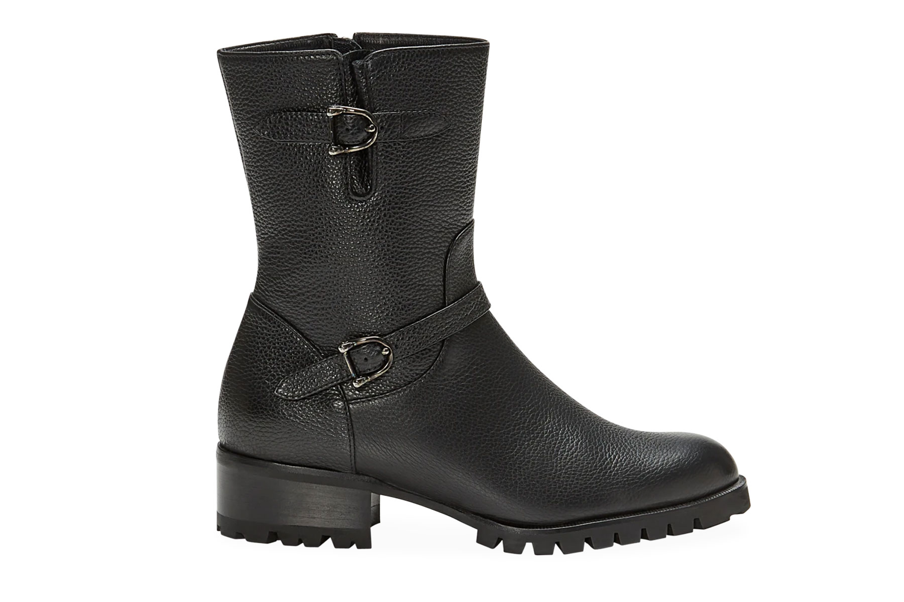Black leather motorcycle style boot