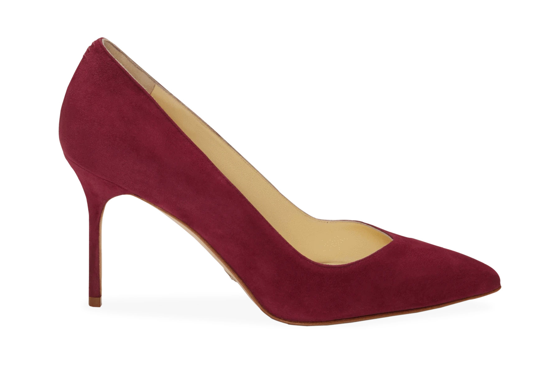 Dark red suede pointed toe pump