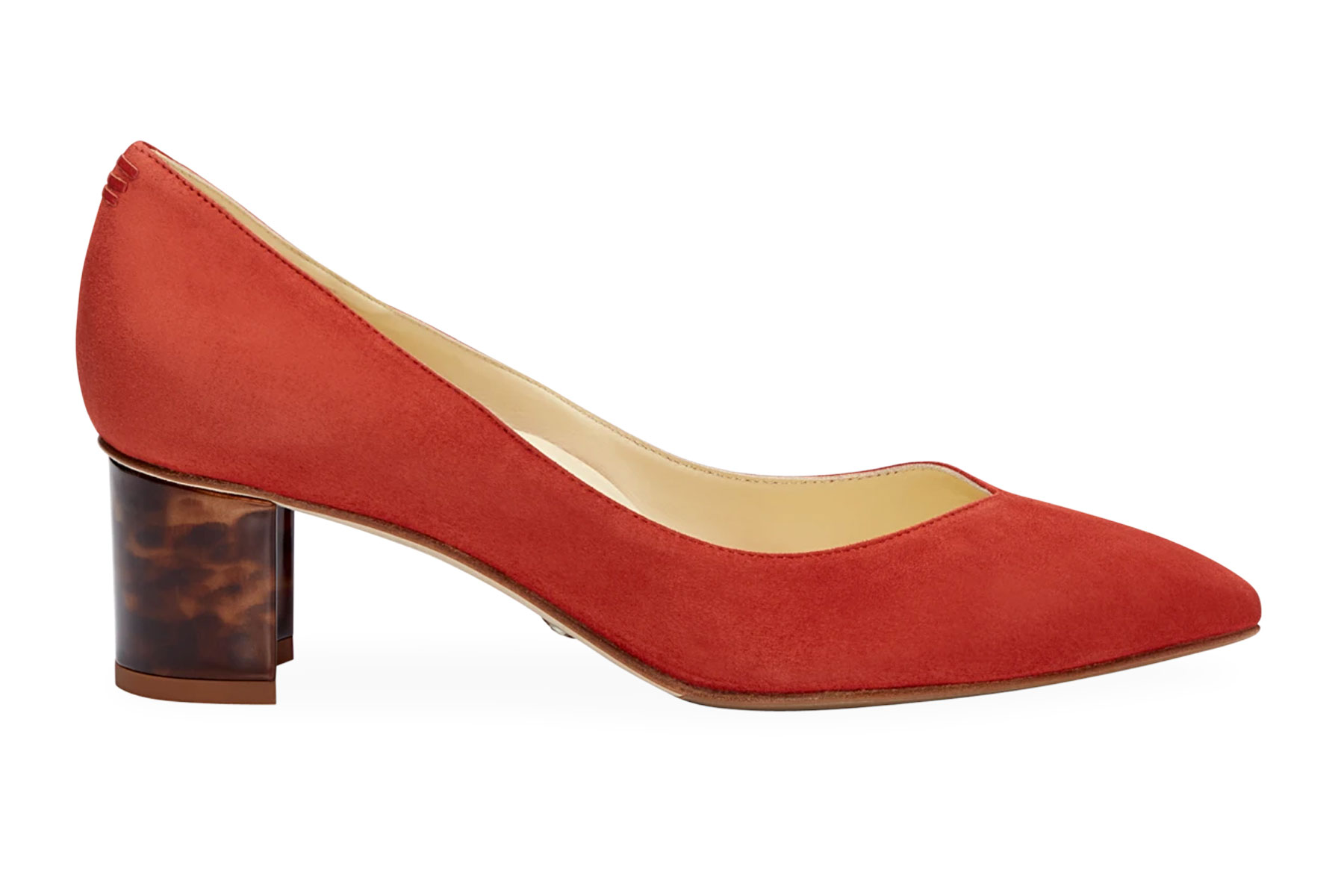 Red suede pump heel
