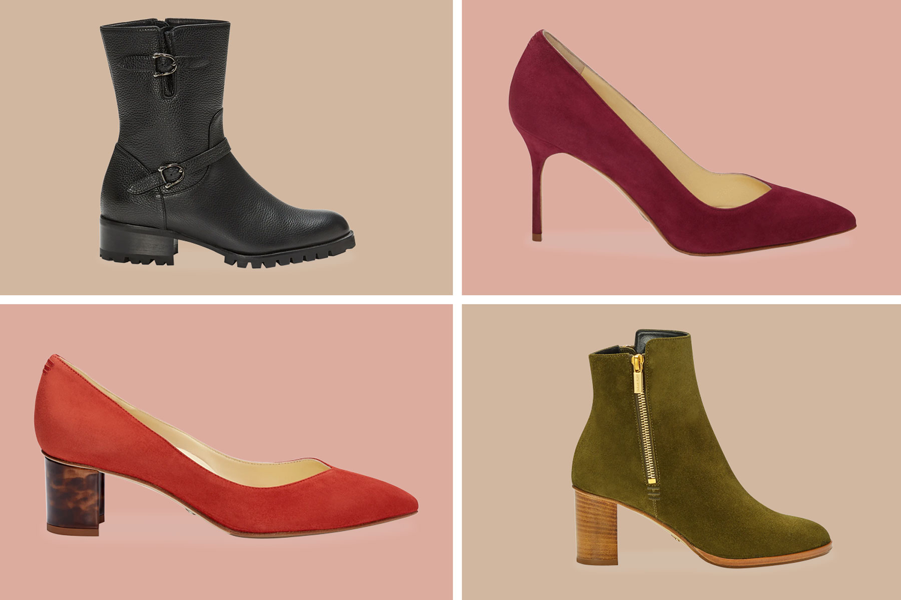Four different shoe styles, boot, pumps, block heel, and heeled bootie
