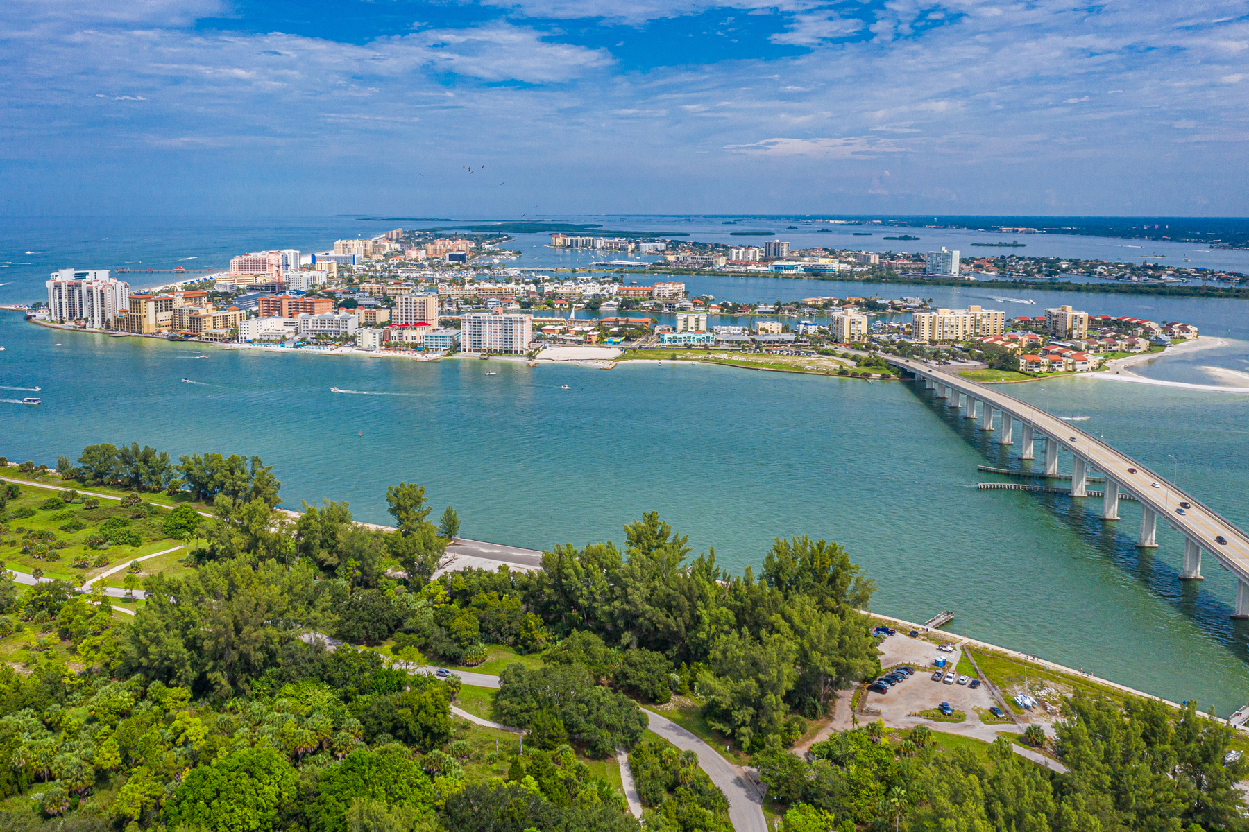 Drone angle view of Clearwater Beach and Bridge.
