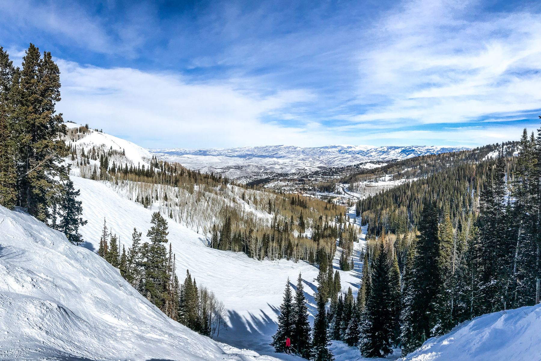 Winter mountain landscape in Deer Valley ski resort.