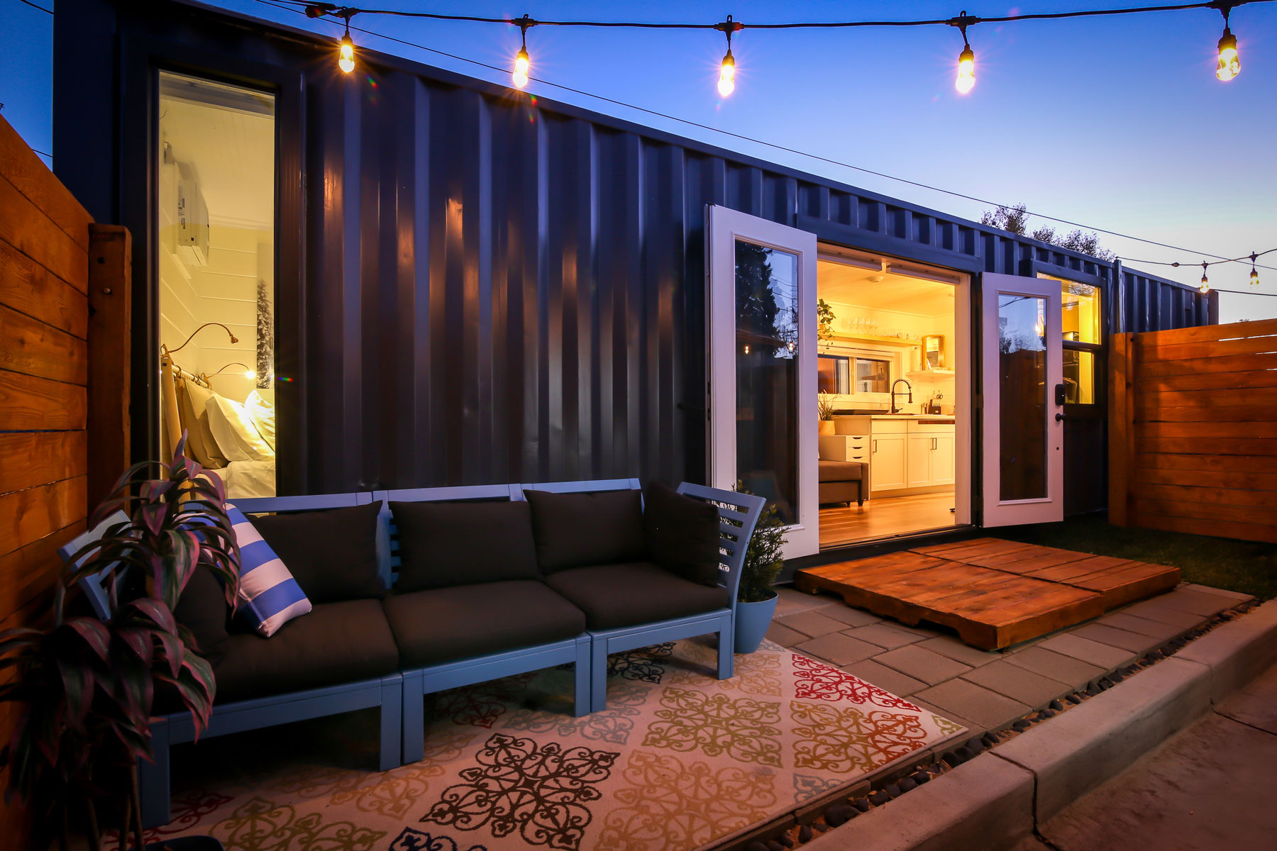 Exterior of shipping container tiny home