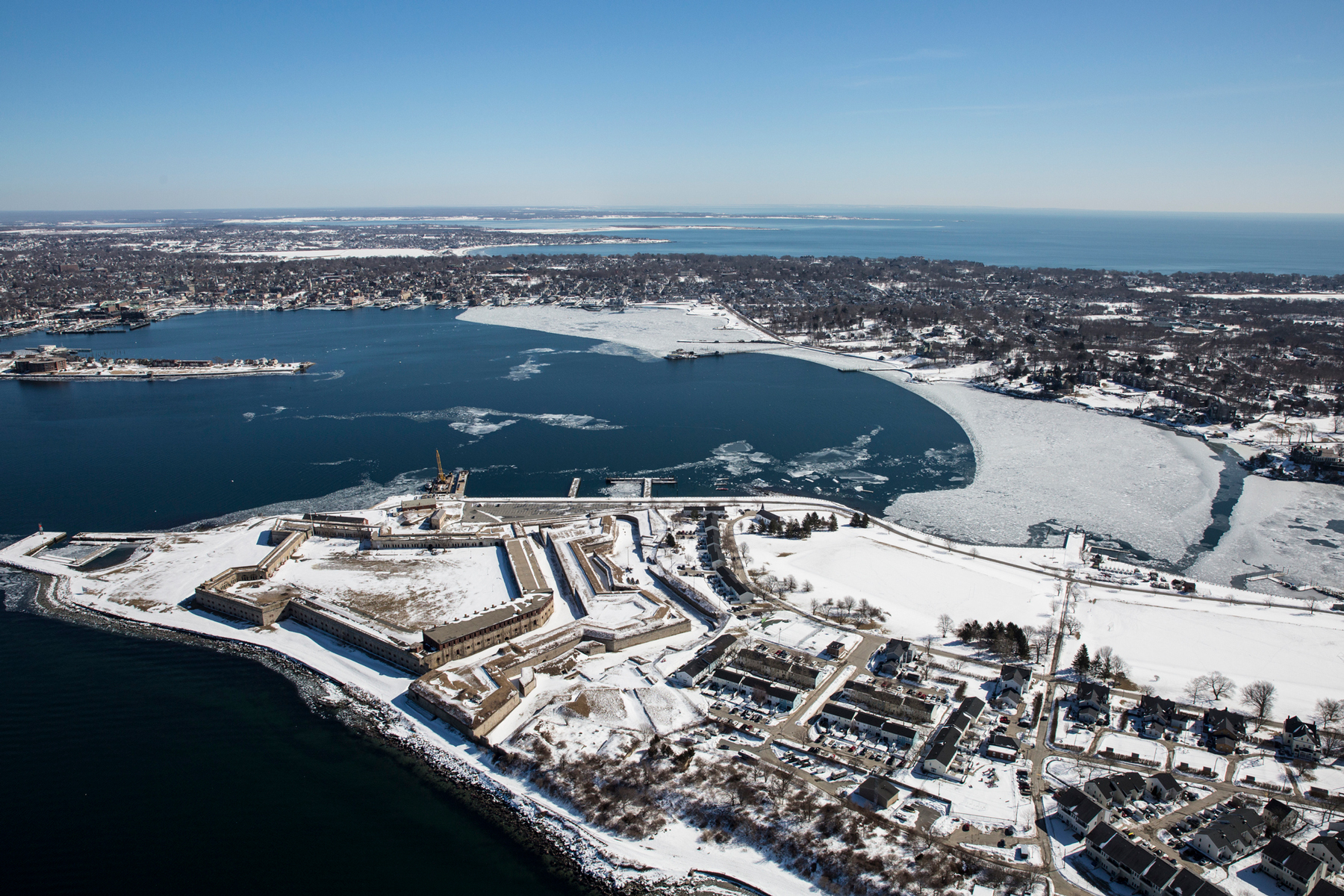 An aerial of Newport, Rhode Island during the winter of 2015.