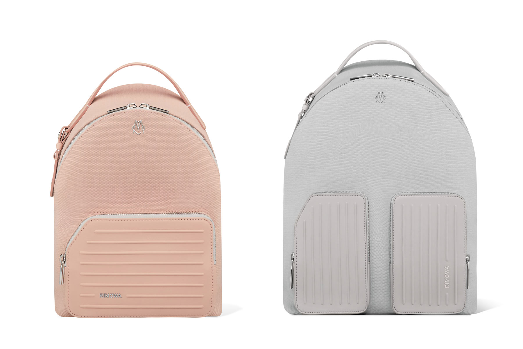 Pink and grey backpacks