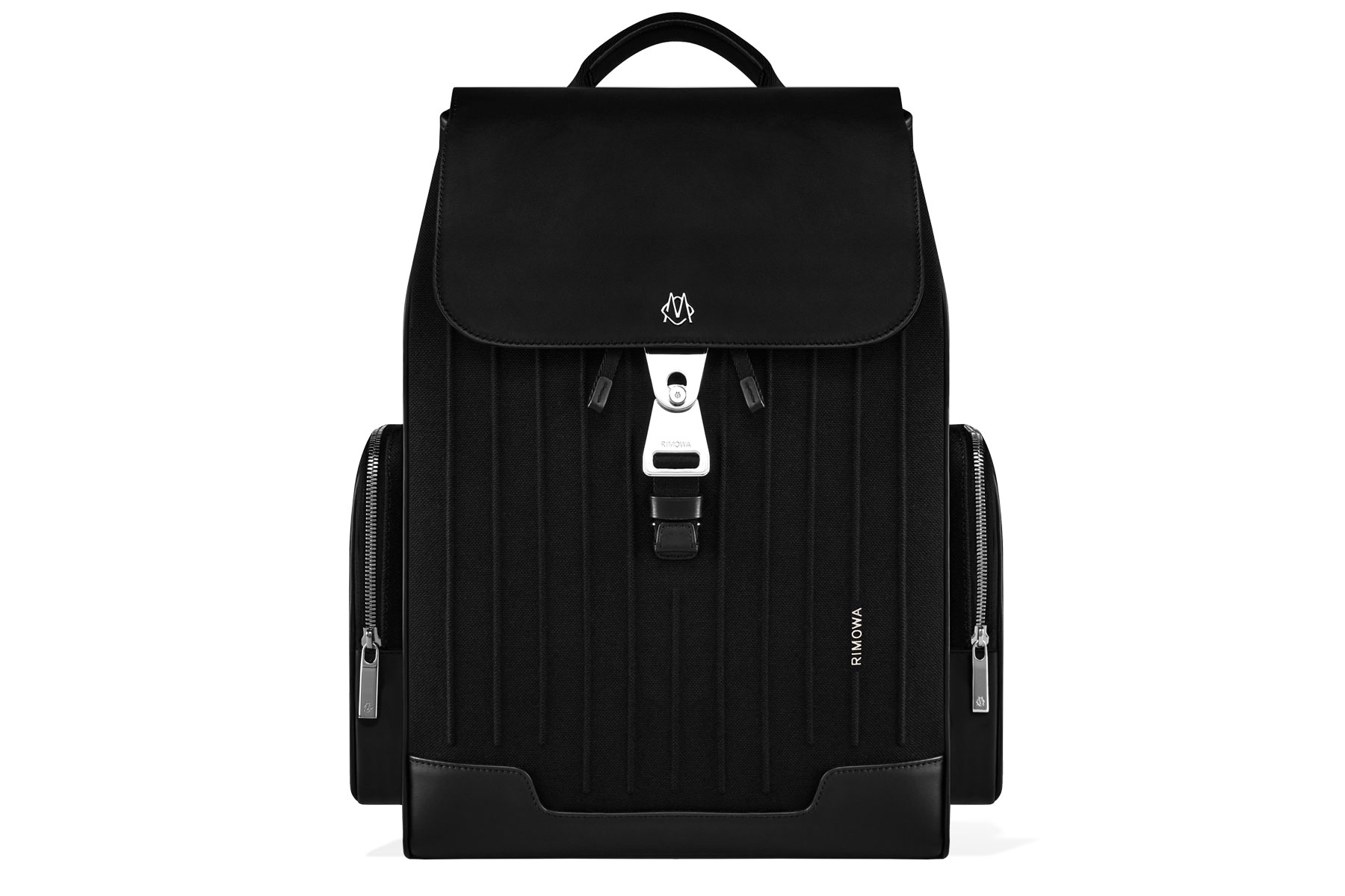 Black backpack with silver hardware