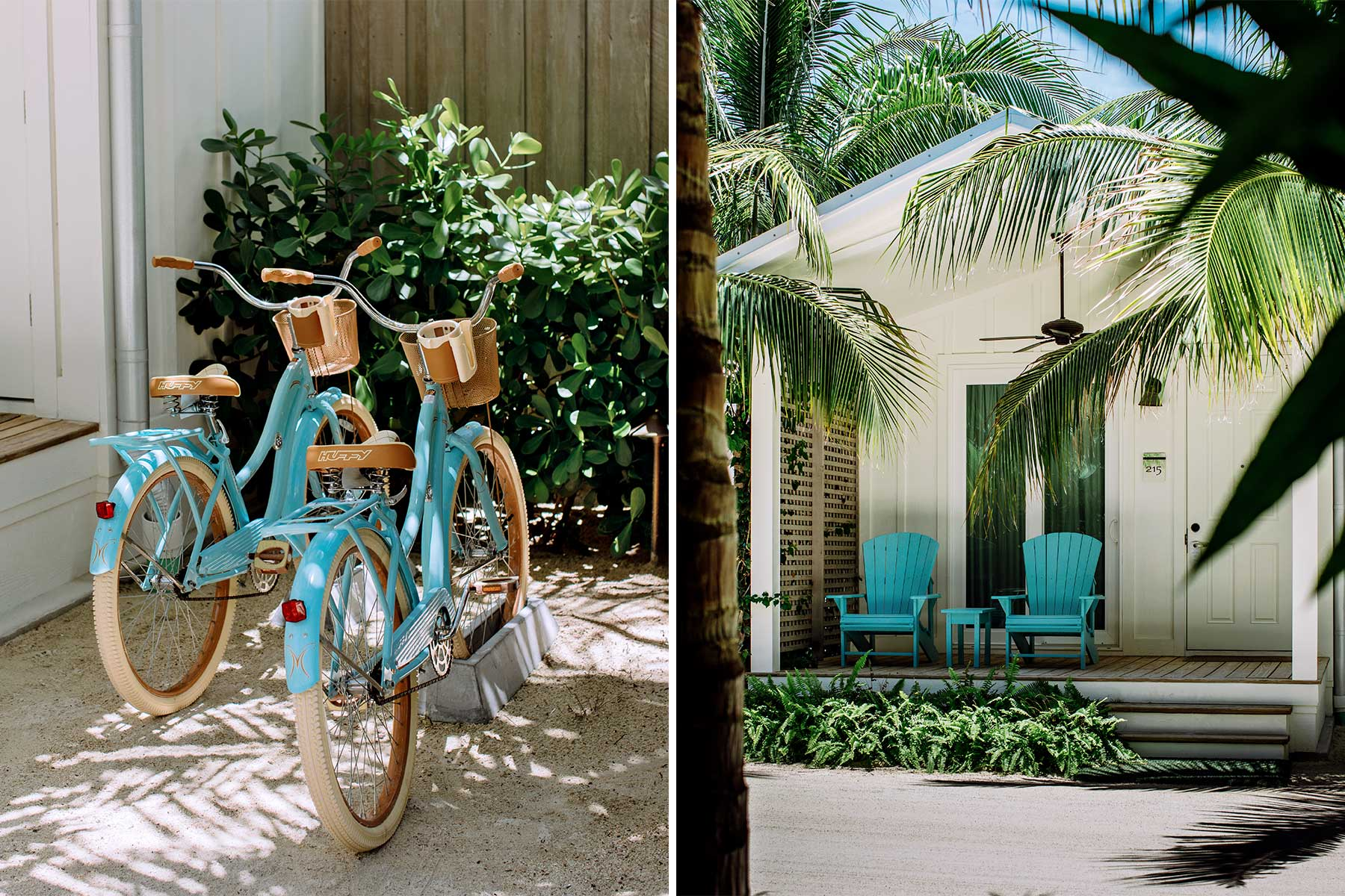Scenes from the Florida Keys: bikes and the exterior of a guest bungalow at Bungalows Key Largo resort