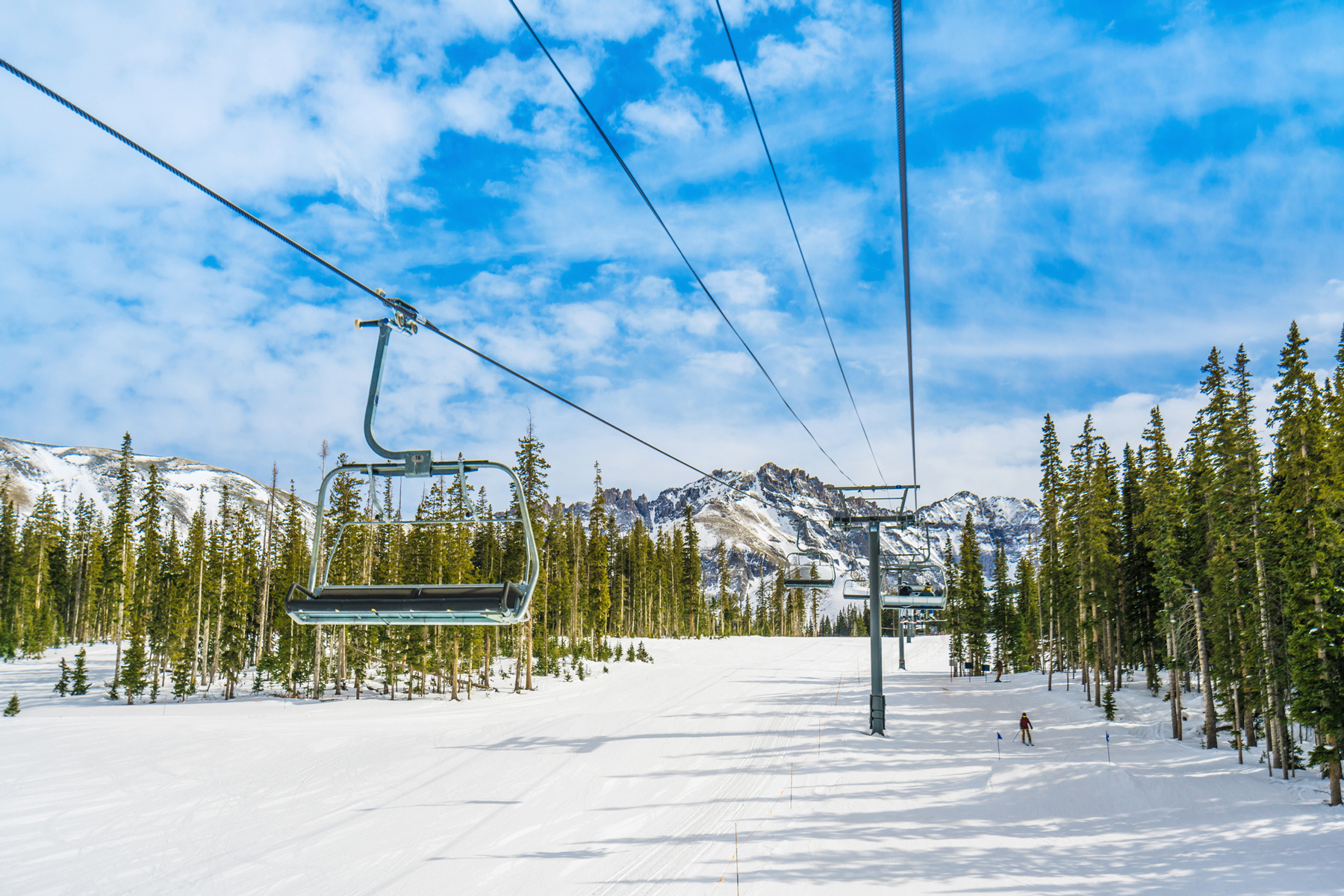 Resort ski lift in Telluride, Colorado during winter