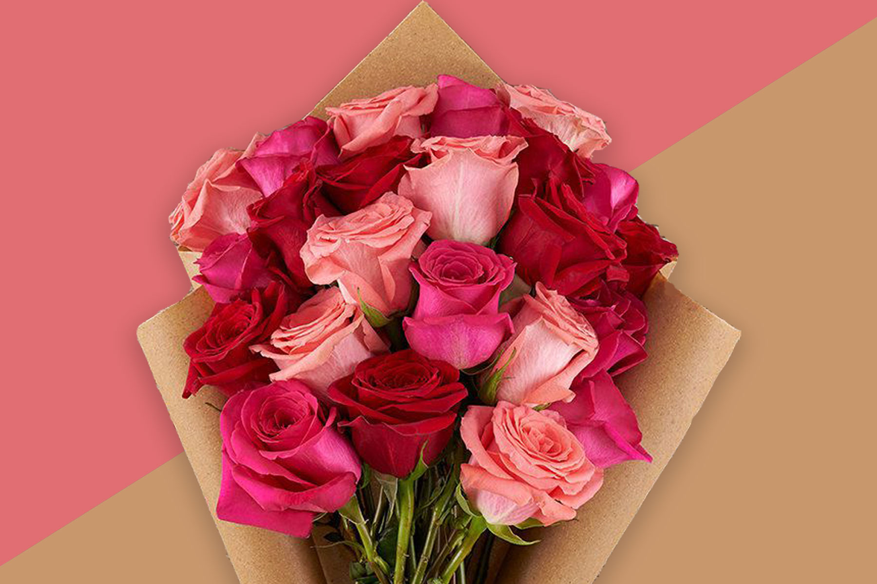 Bouquet of pink and red roses