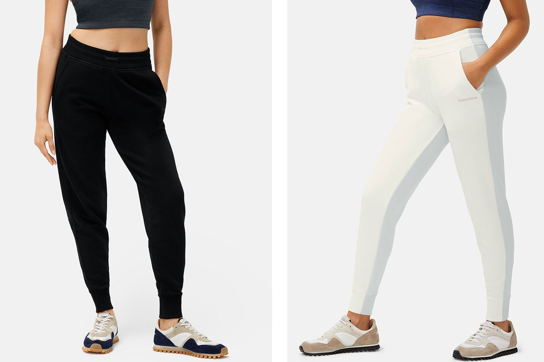 Women wearing black and cream joggers